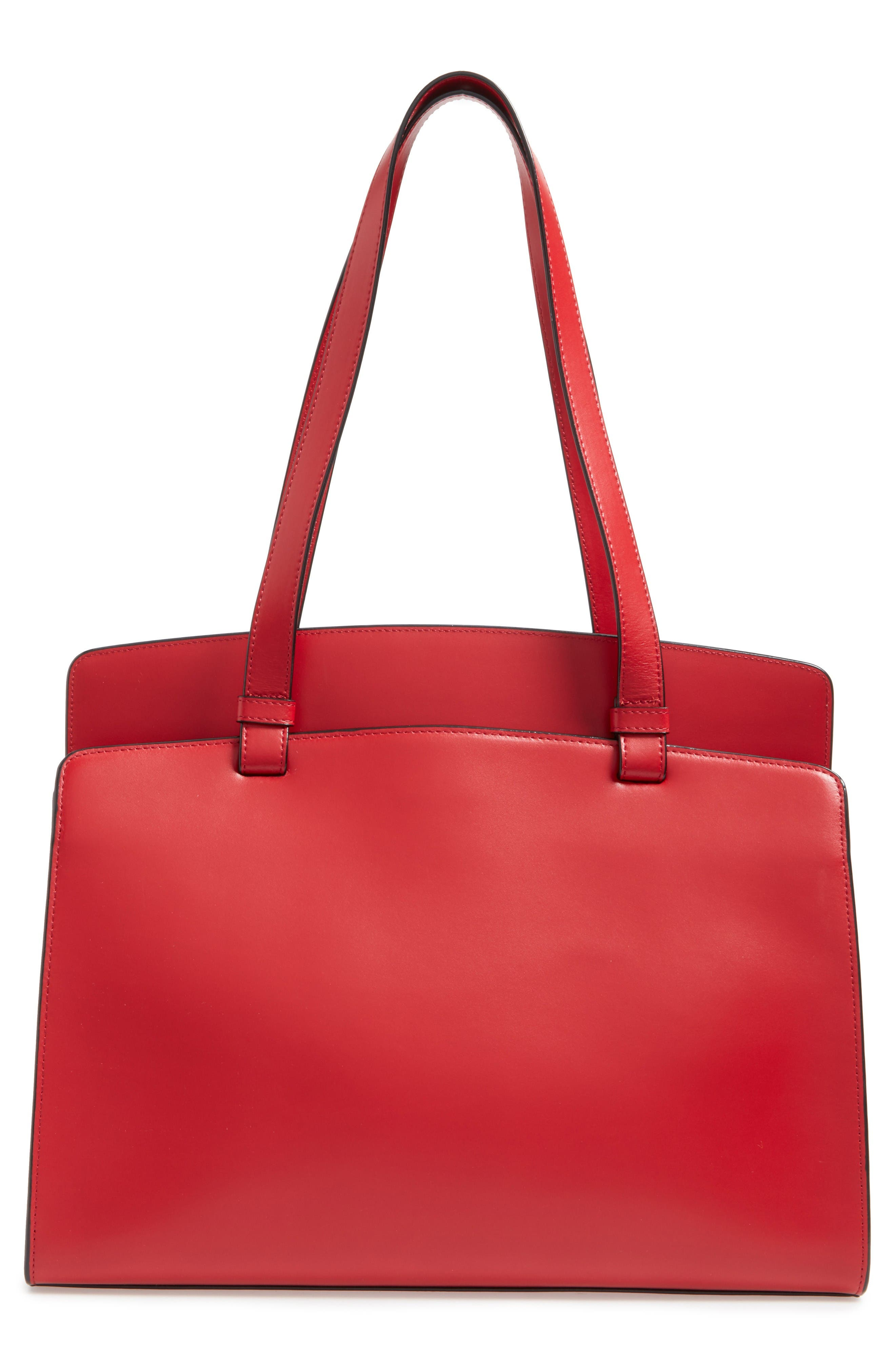 Lodis Audrey Collection - Jana Leather Tote,                             Alternate thumbnail 3, color,                             Red