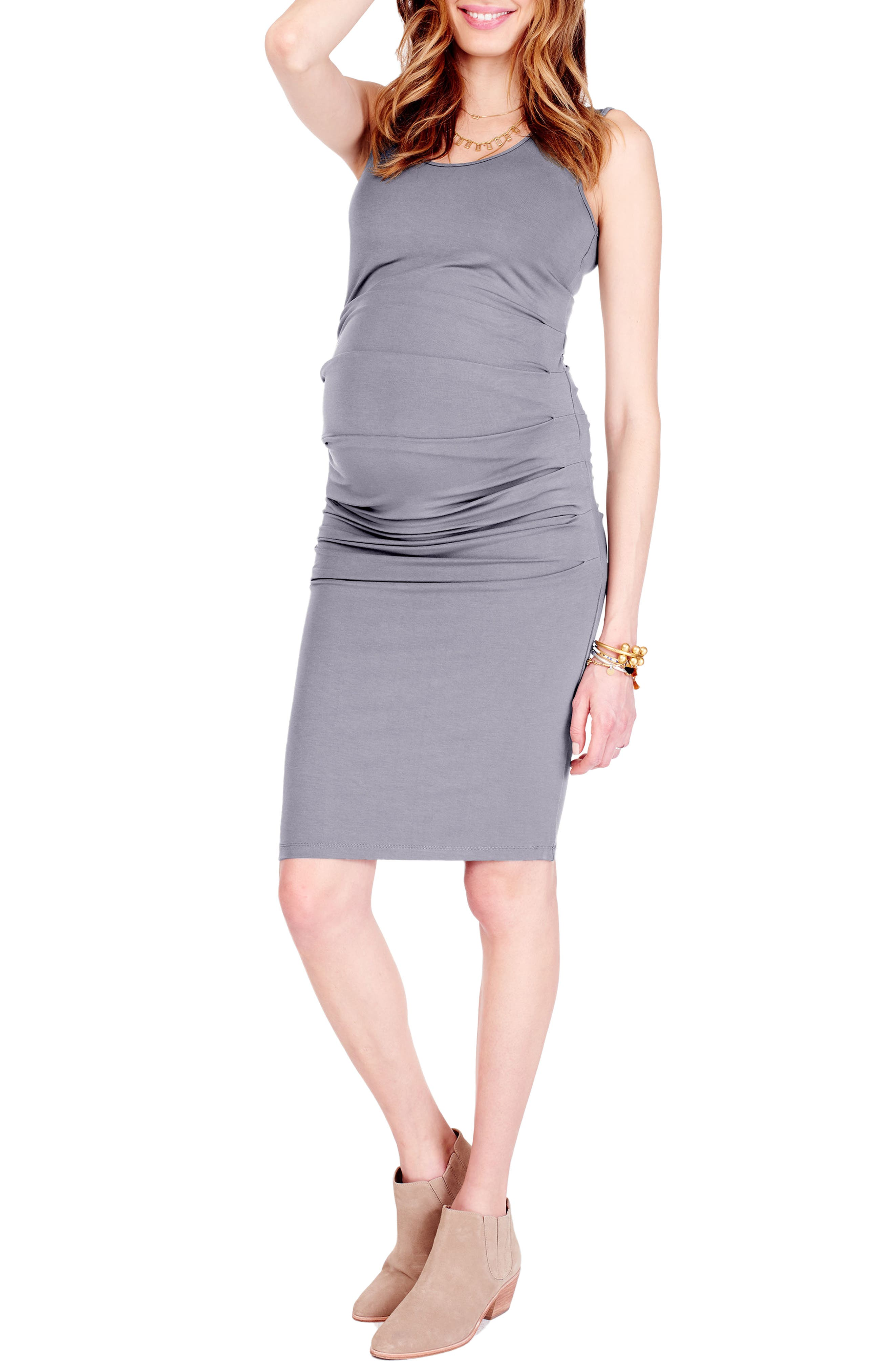 Ruched Maternity Tank Dress,                         Main,                         color, Heather Grey