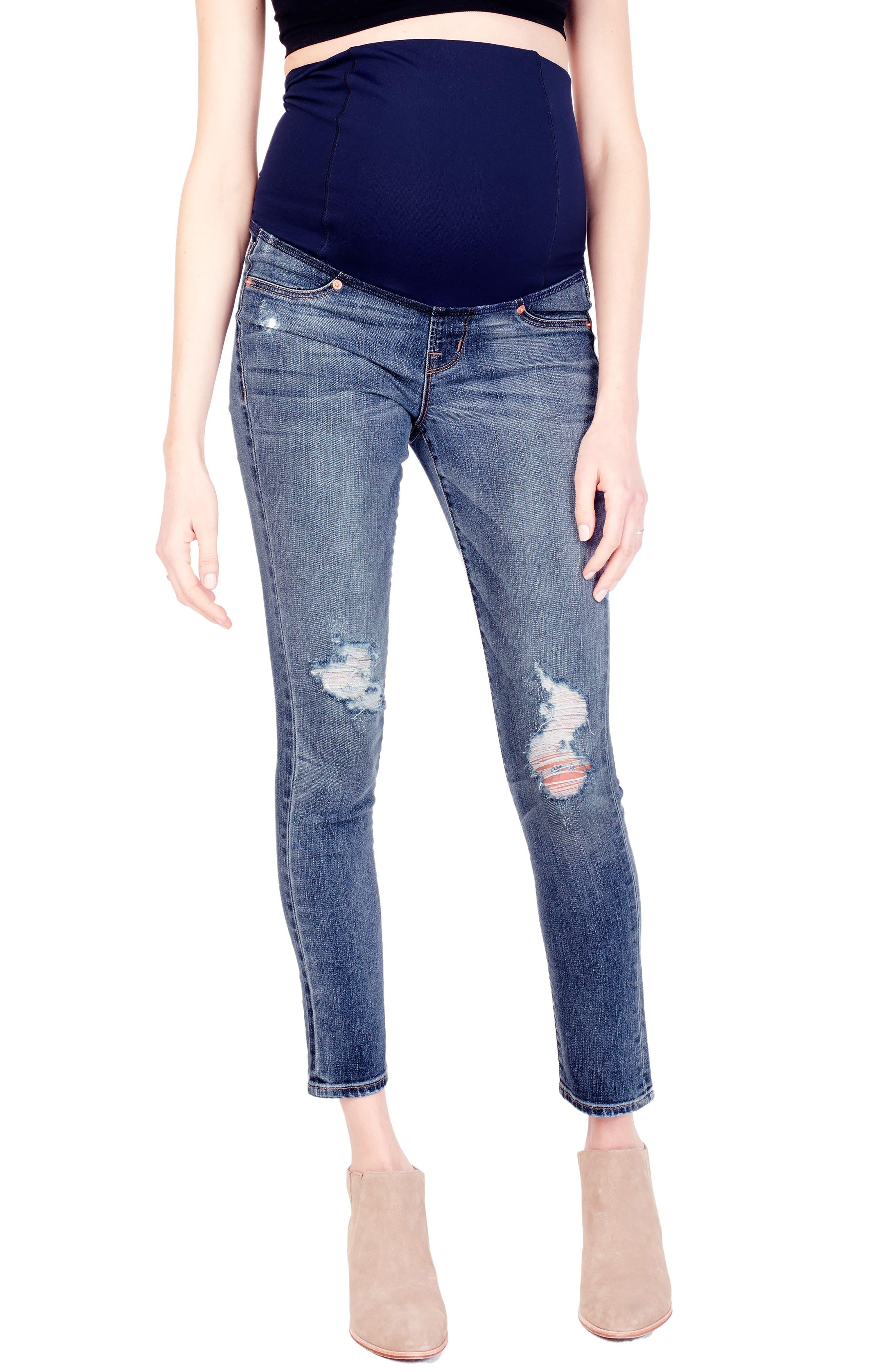 Sasha Maternity Skinny Jeans with Crossover Panel<sup>™</sup>,                         Main,                         color, Distressed Light Indigo