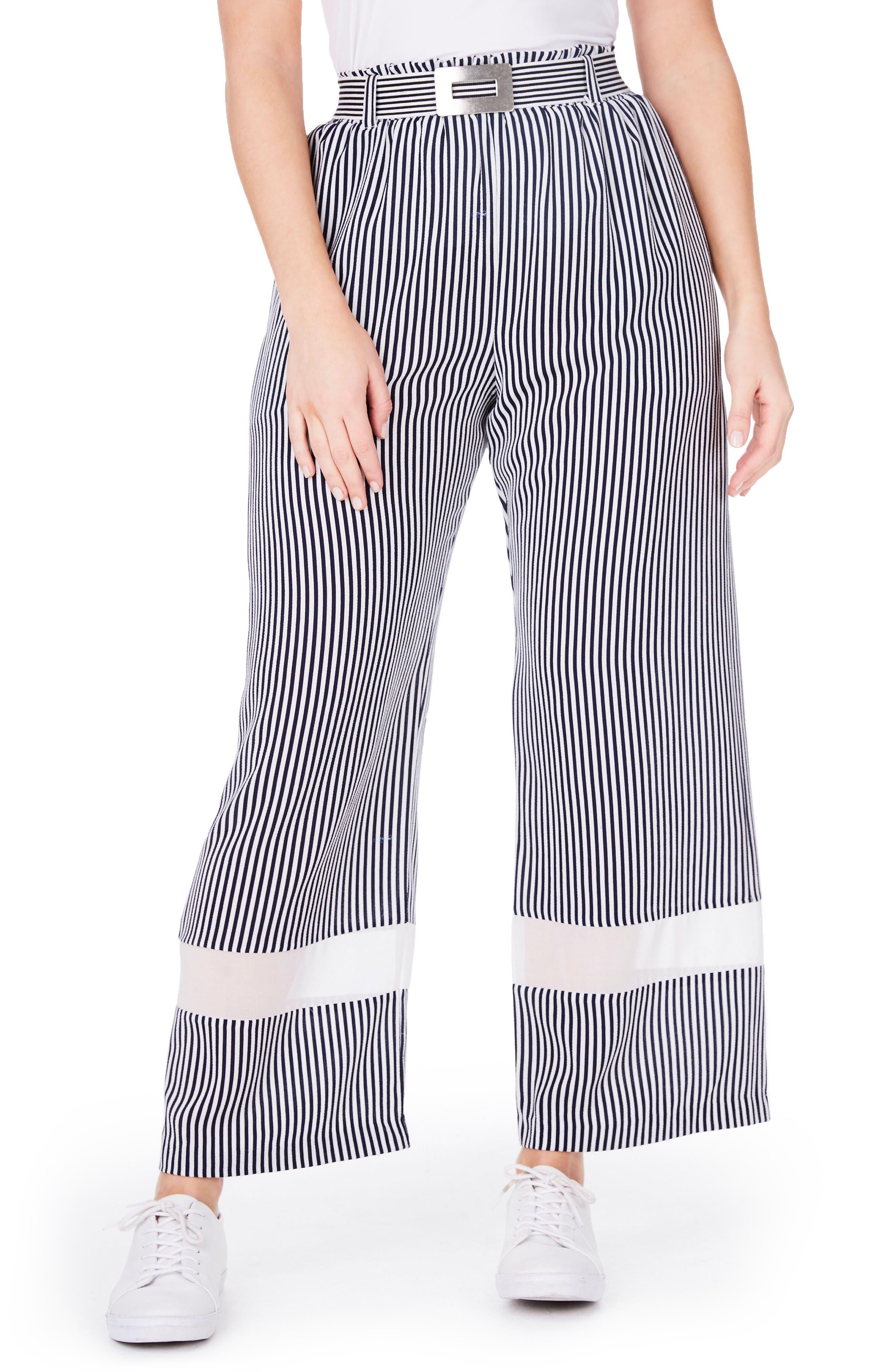 Stripe Wide Leg Trousers,                         Main,                         color, White