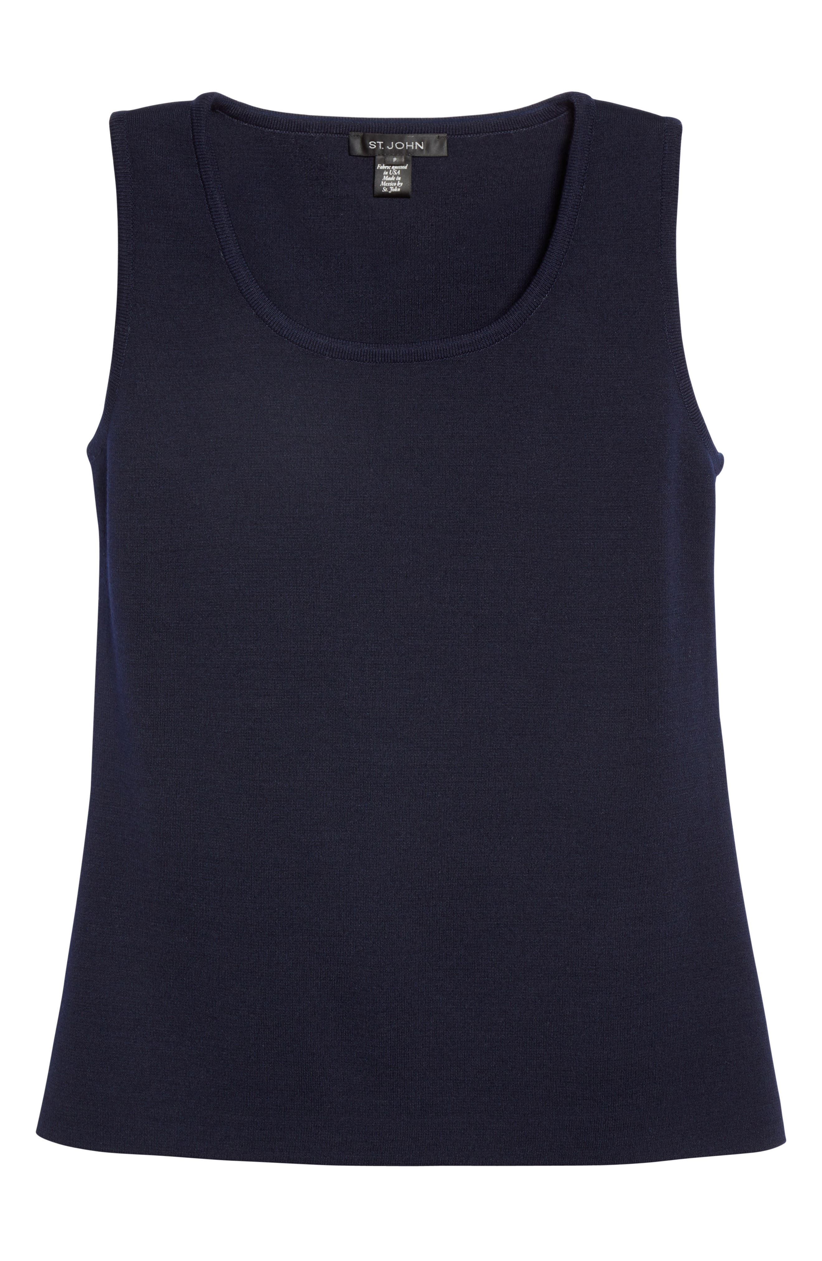Milano Knit Contour Tank,                             Alternate thumbnail 4, color,                             Navy