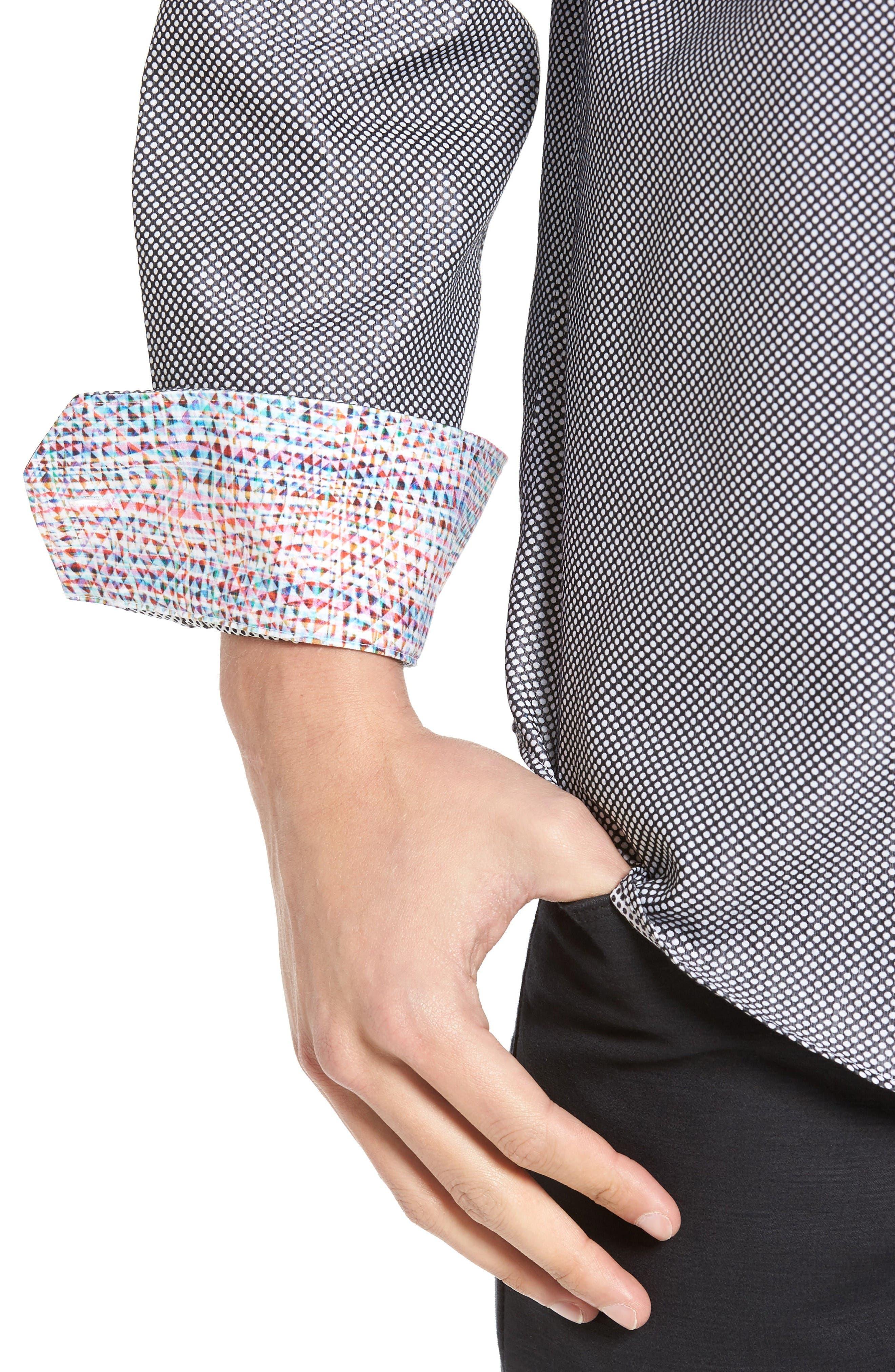 Alternate Image 4  - Bugatchi Shaped Fit Textured Sport Shirt