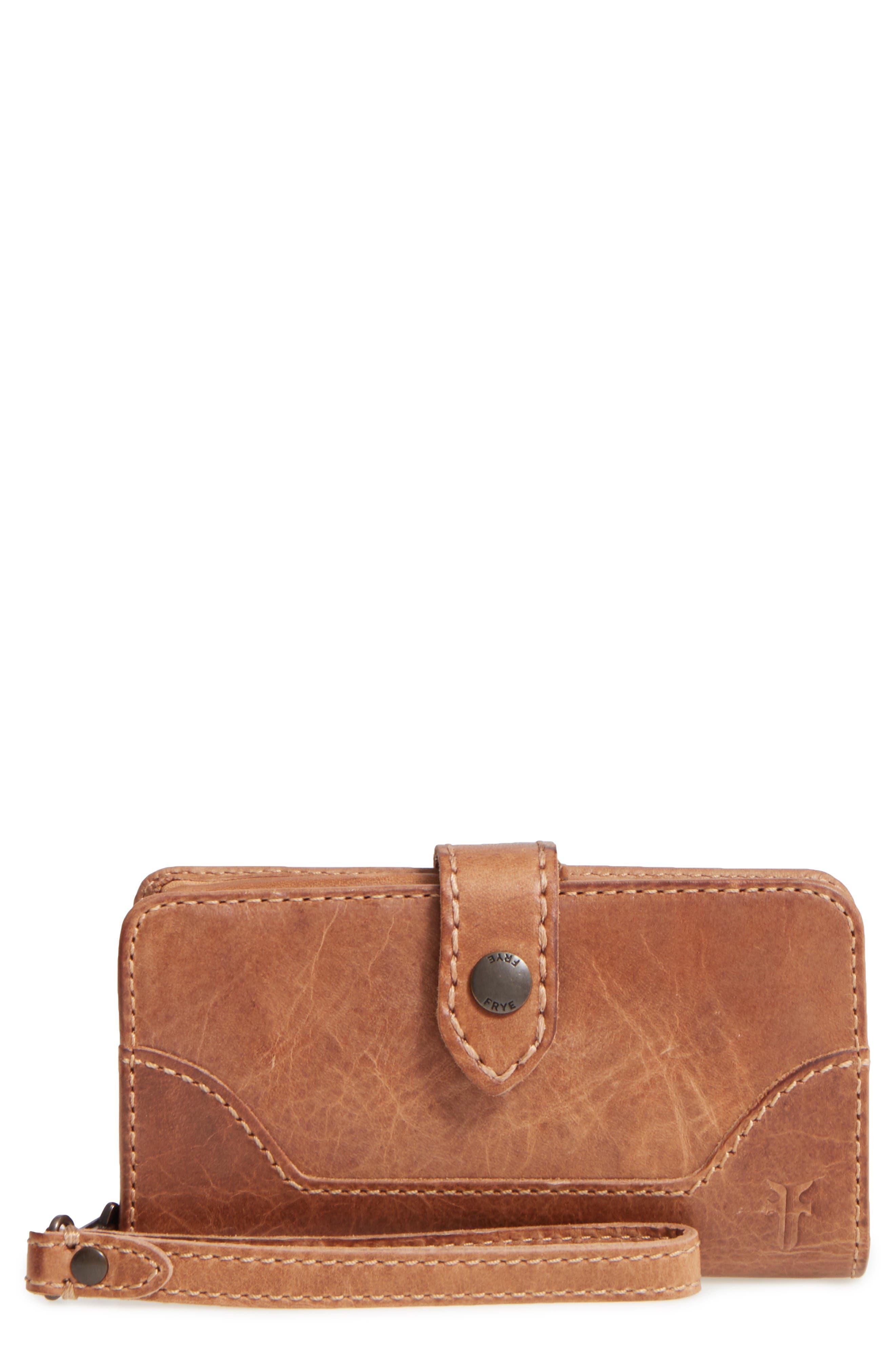 'Melissa' Leather Phone Wallet,                             Main thumbnail 1, color,                             Beige