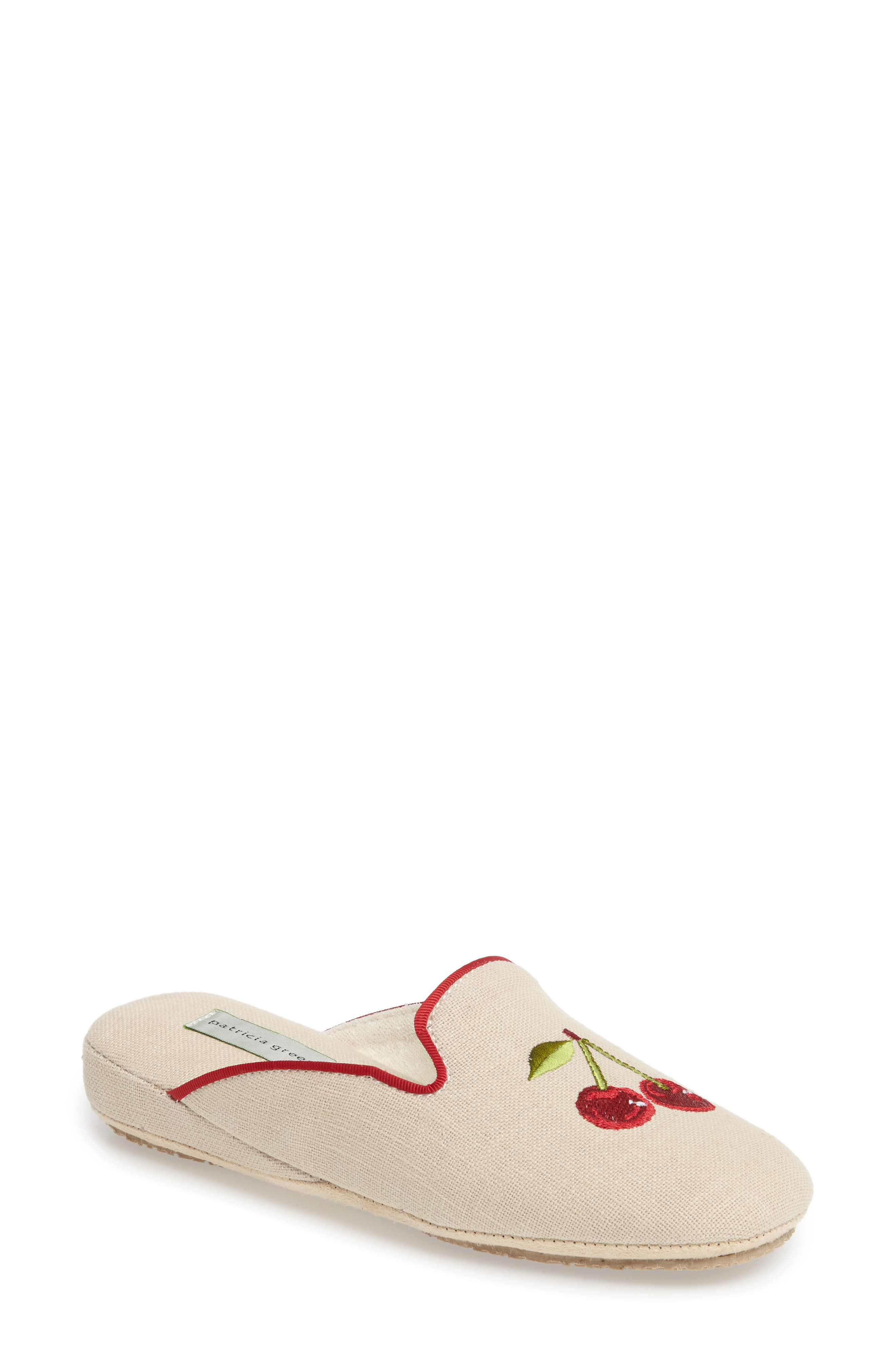Cherries Slipper,                             Main thumbnail 1, color,                             Natural Fabric
