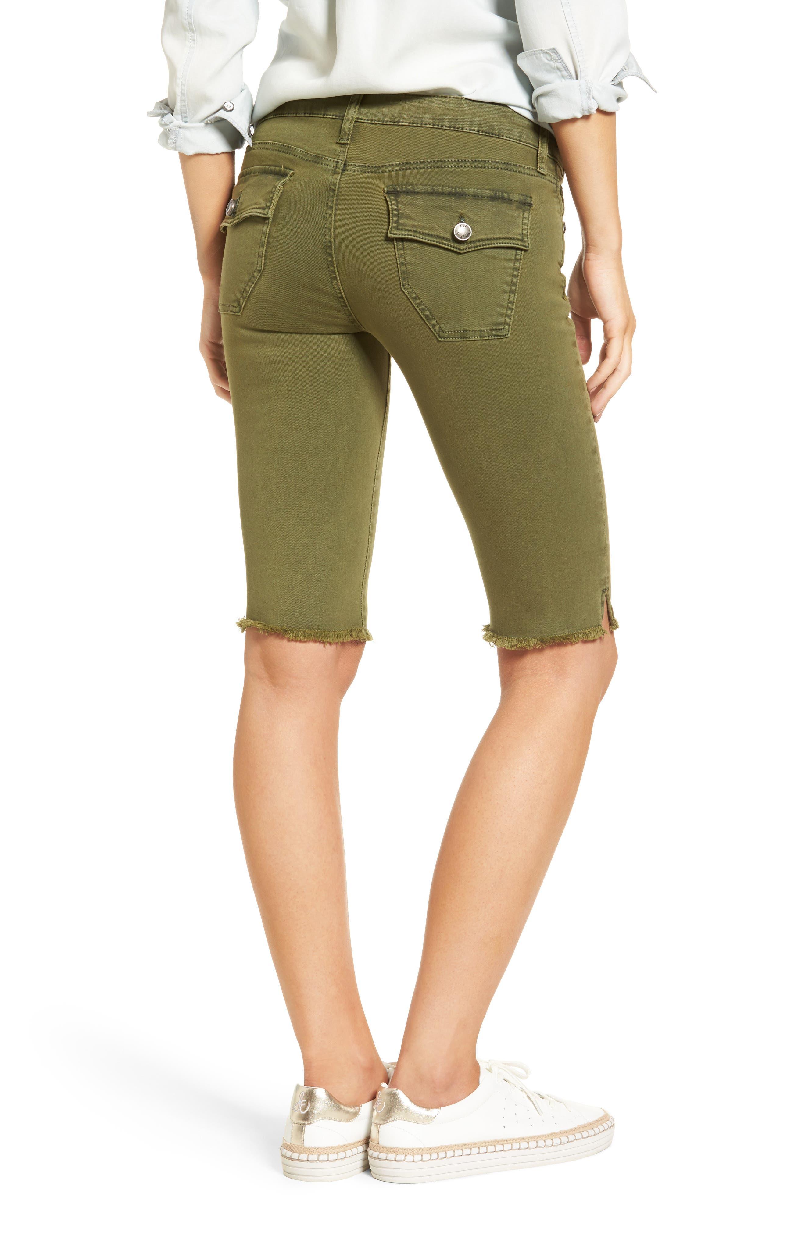 Natalie Frayed Hem Denim Bermuda Shorts,                             Alternate thumbnail 2, color,                             Olive