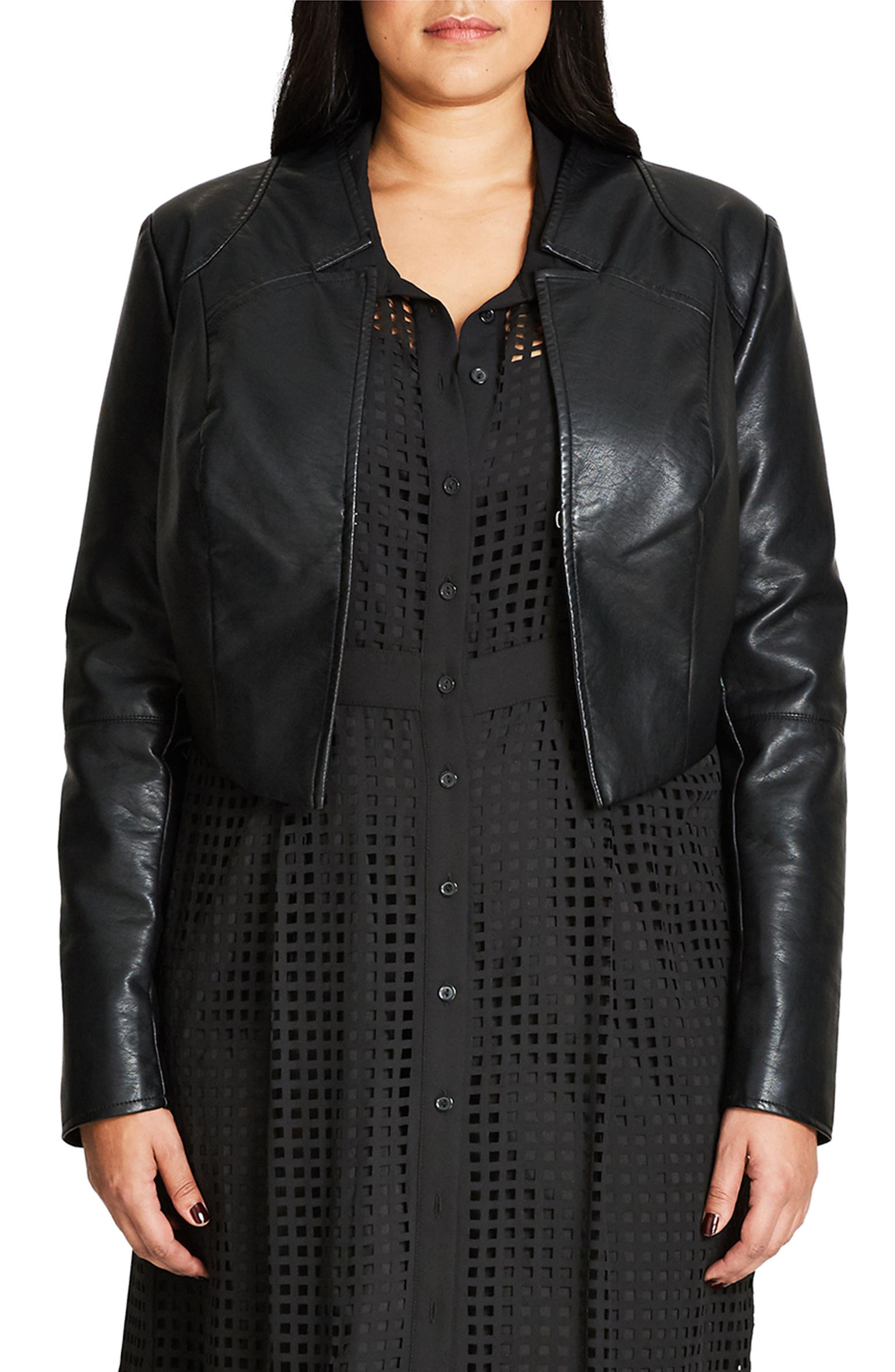 Sleek Faux Leather Bolero,                             Main thumbnail 1, color,                             Black