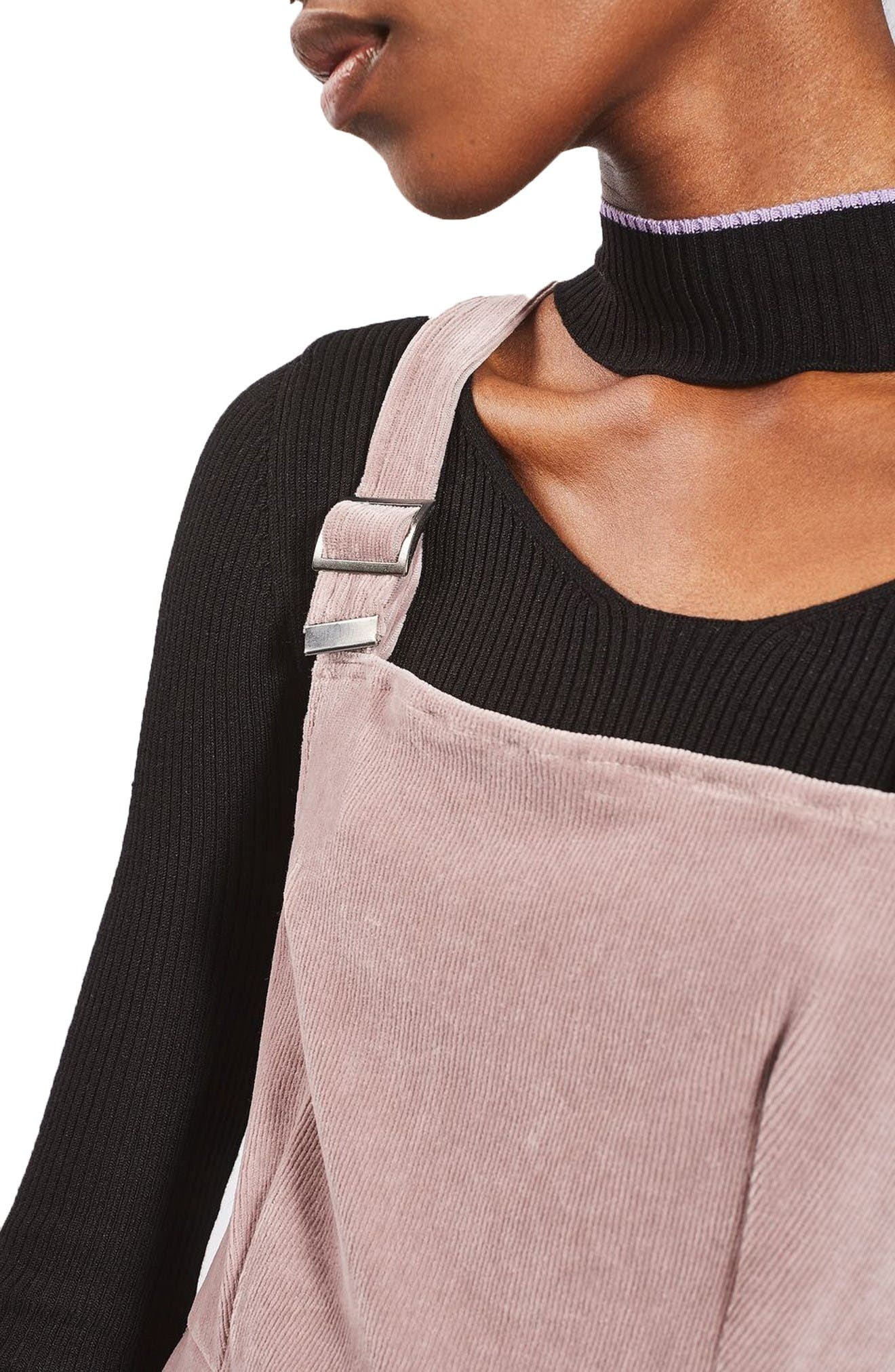 Alternate Image 5  - Topshop Velvet Corduroy Pinafore Dress (Petite)