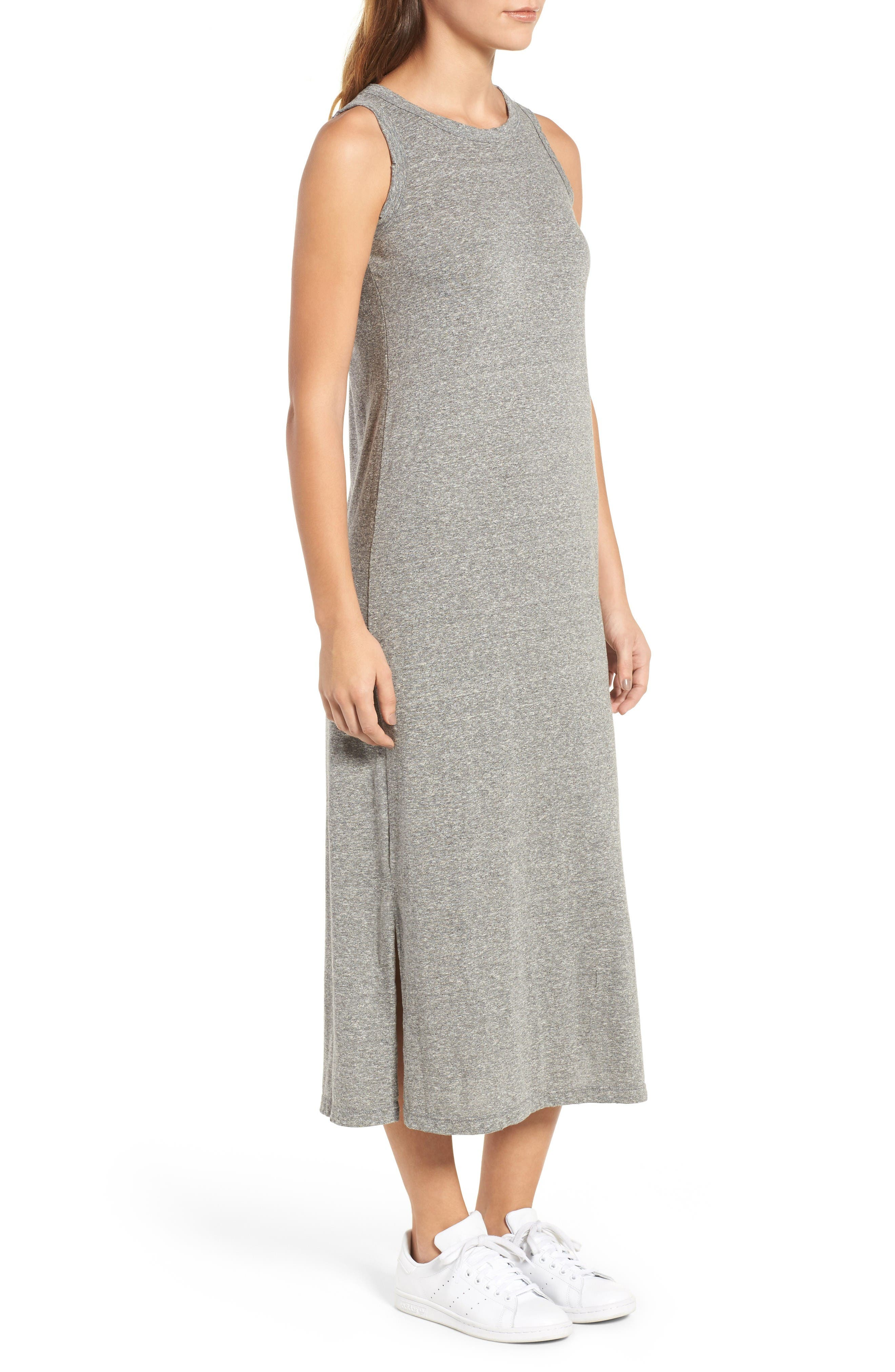 The Perfect Muscle Tee Dress,                             Alternate thumbnail 3, color,                             Heather Grey