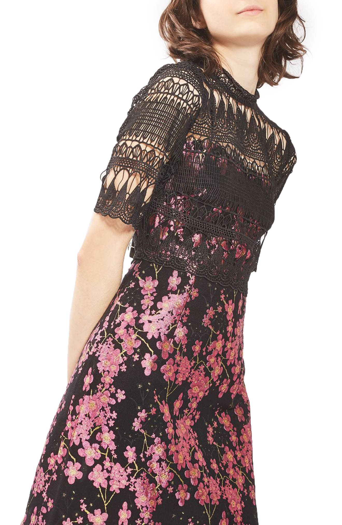 Alternate Image 1 Selected - Topshop Lace & Jacquard Dress