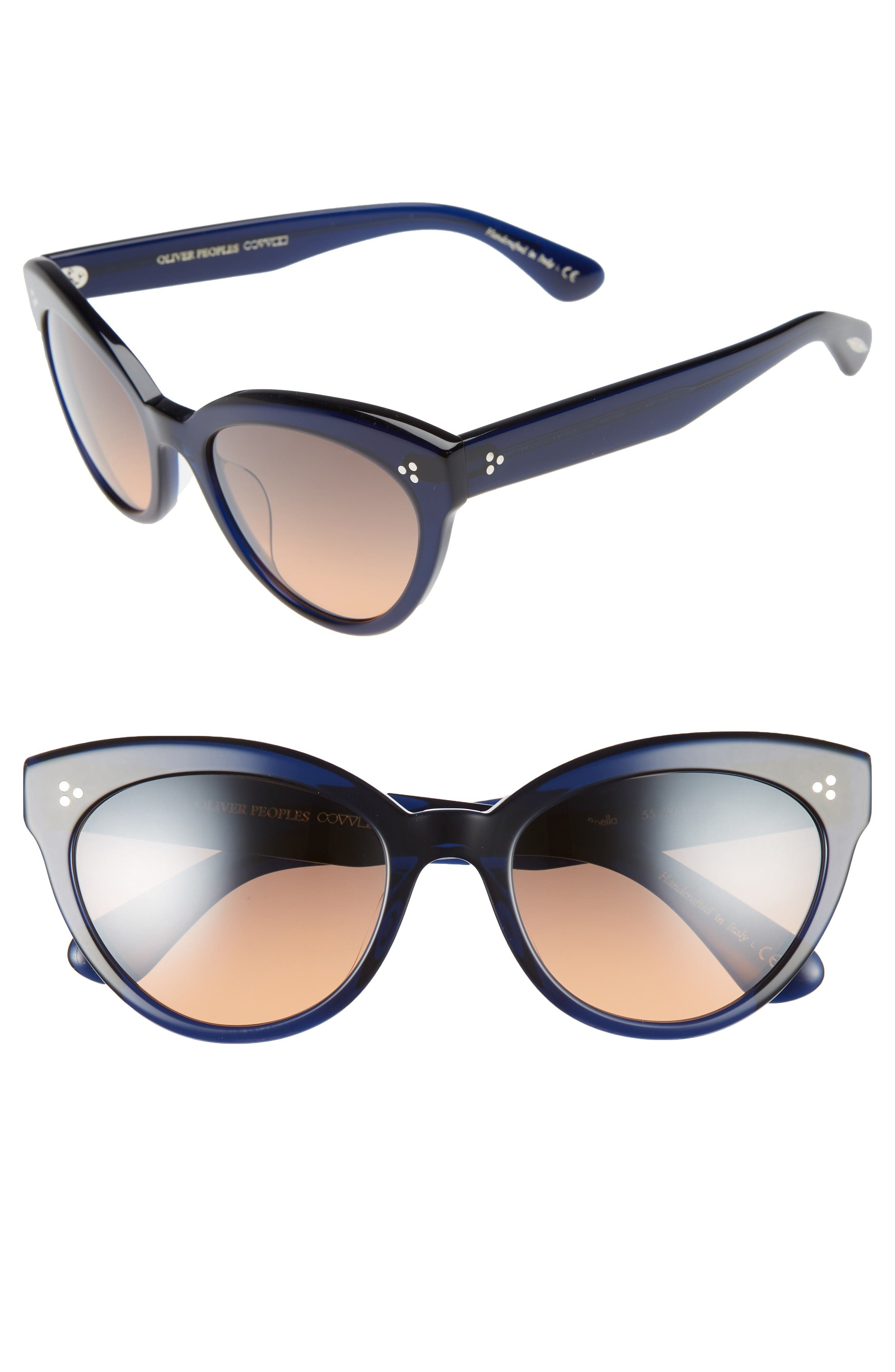 Roella 55mm Cat Eye Sunglasses,                         Main,                         color, Blue
