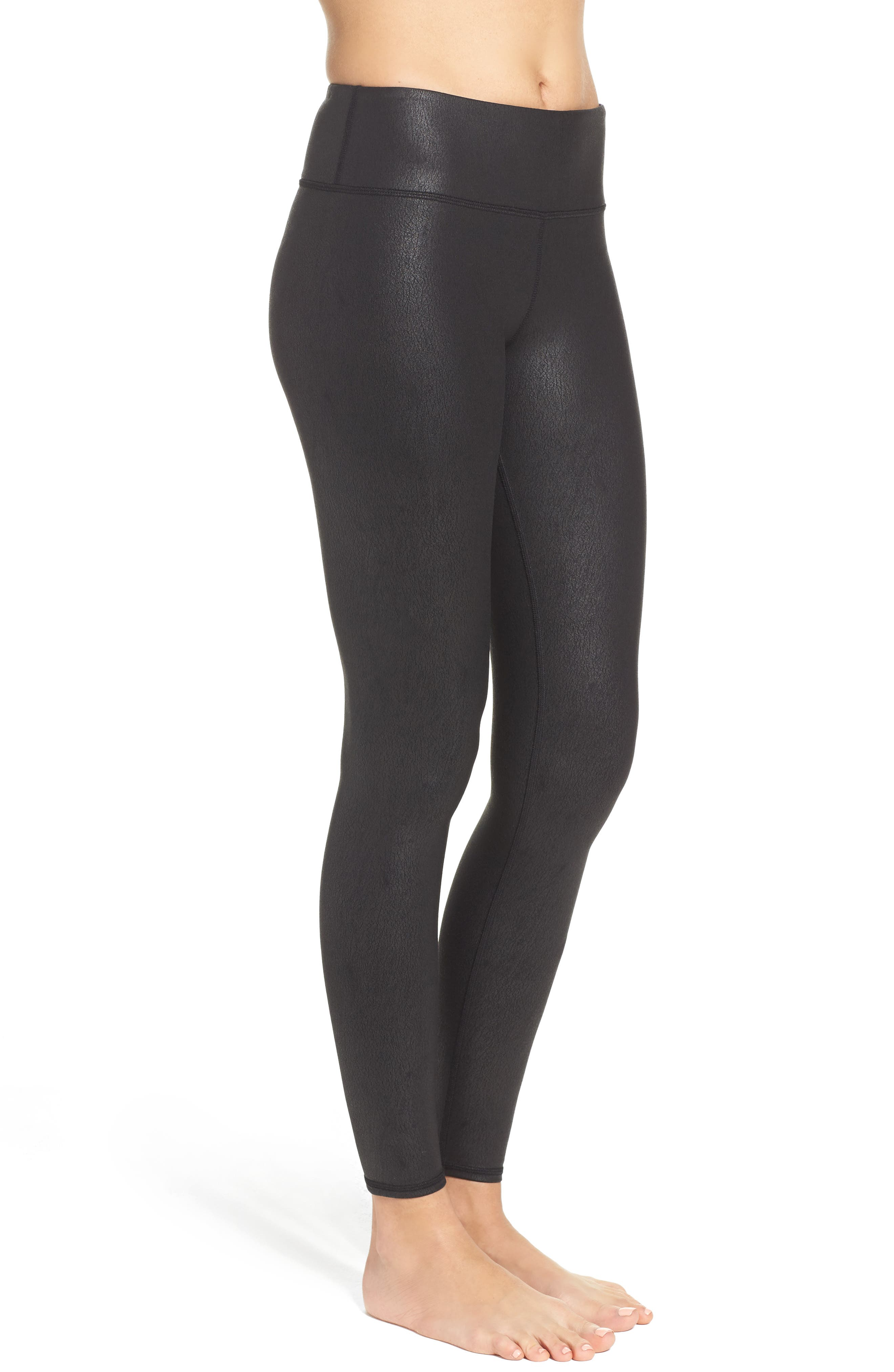 'Airbrushed' Leggings,                             Alternate thumbnail 3, color,                             Black Performance Leather