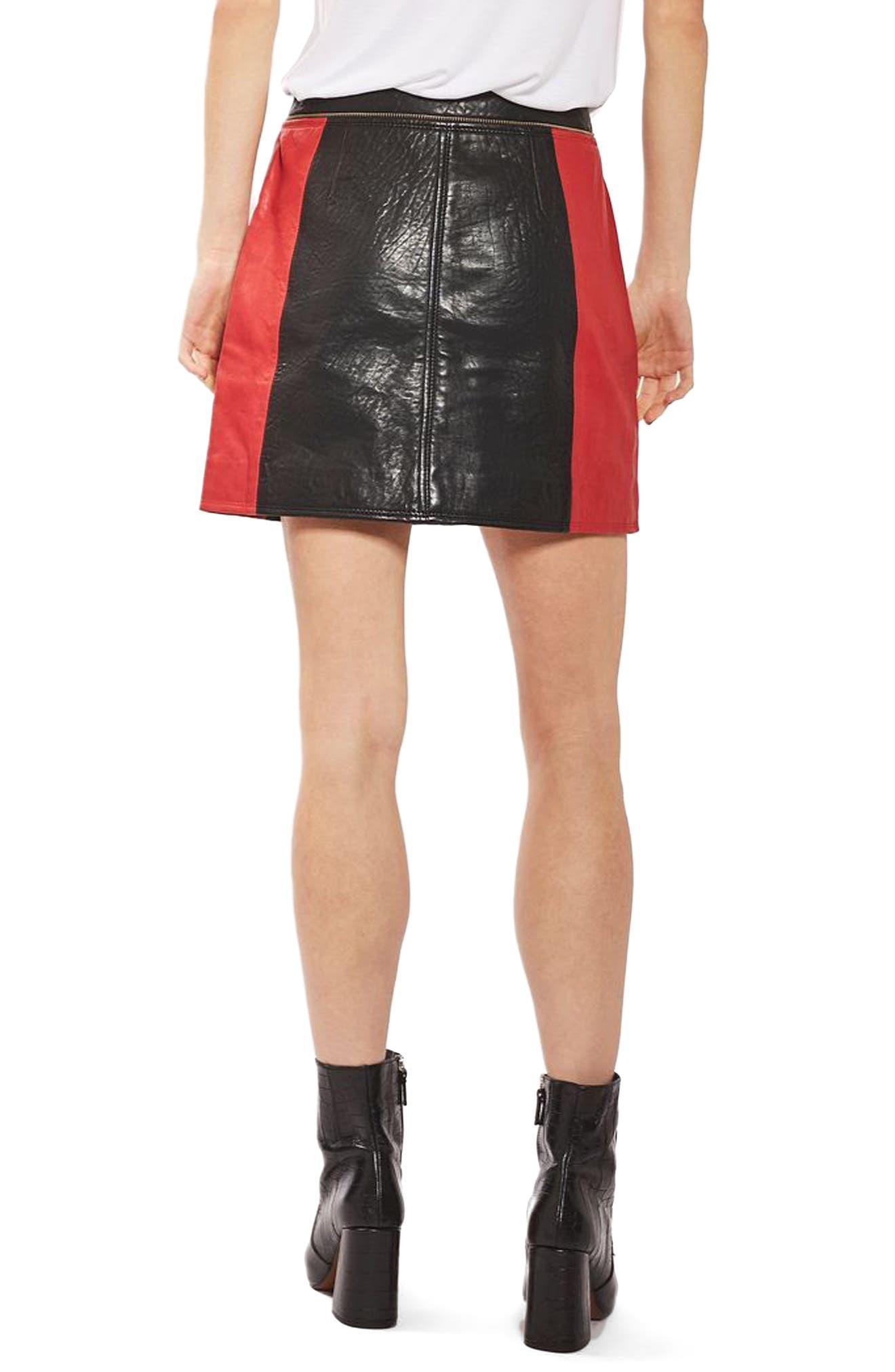 Alternate Image 3  - Topshop Colorblock Leather Skirt