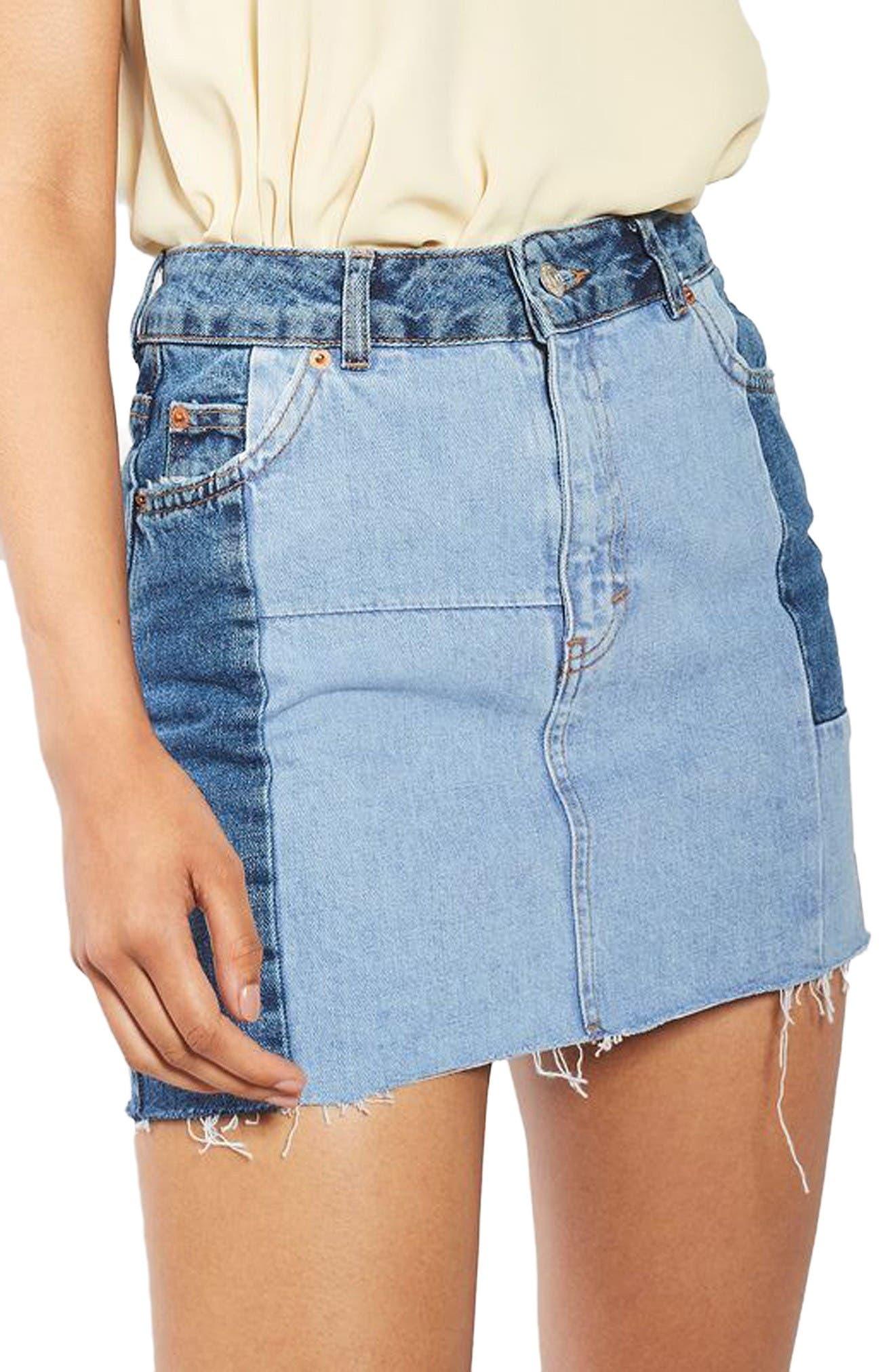 Main Image - Topshop Colorblock Denim Miniskirt
