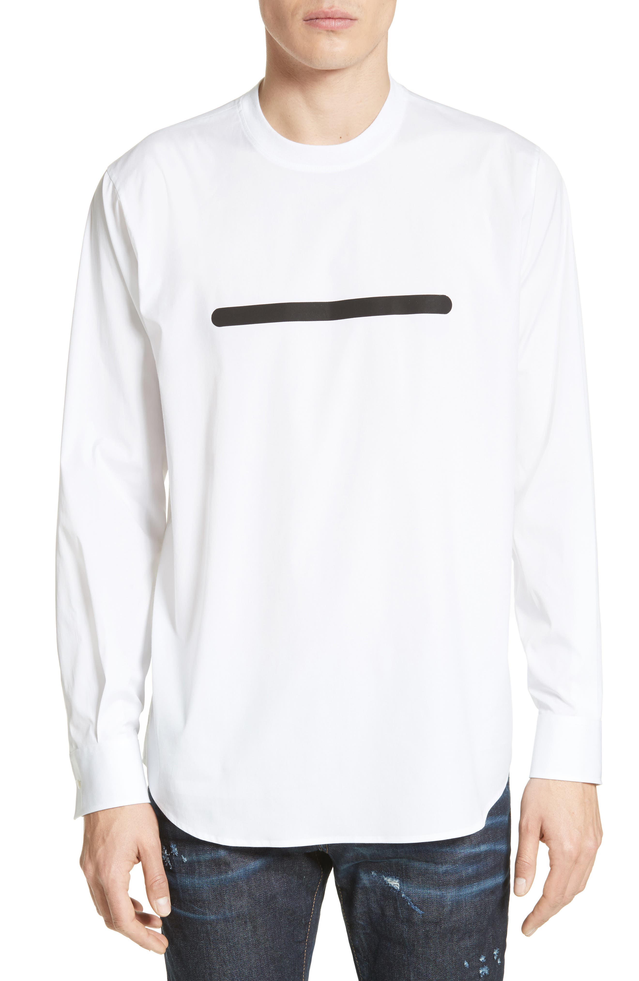 Crewneck Poplin Shirt,                         Main,                         color, White