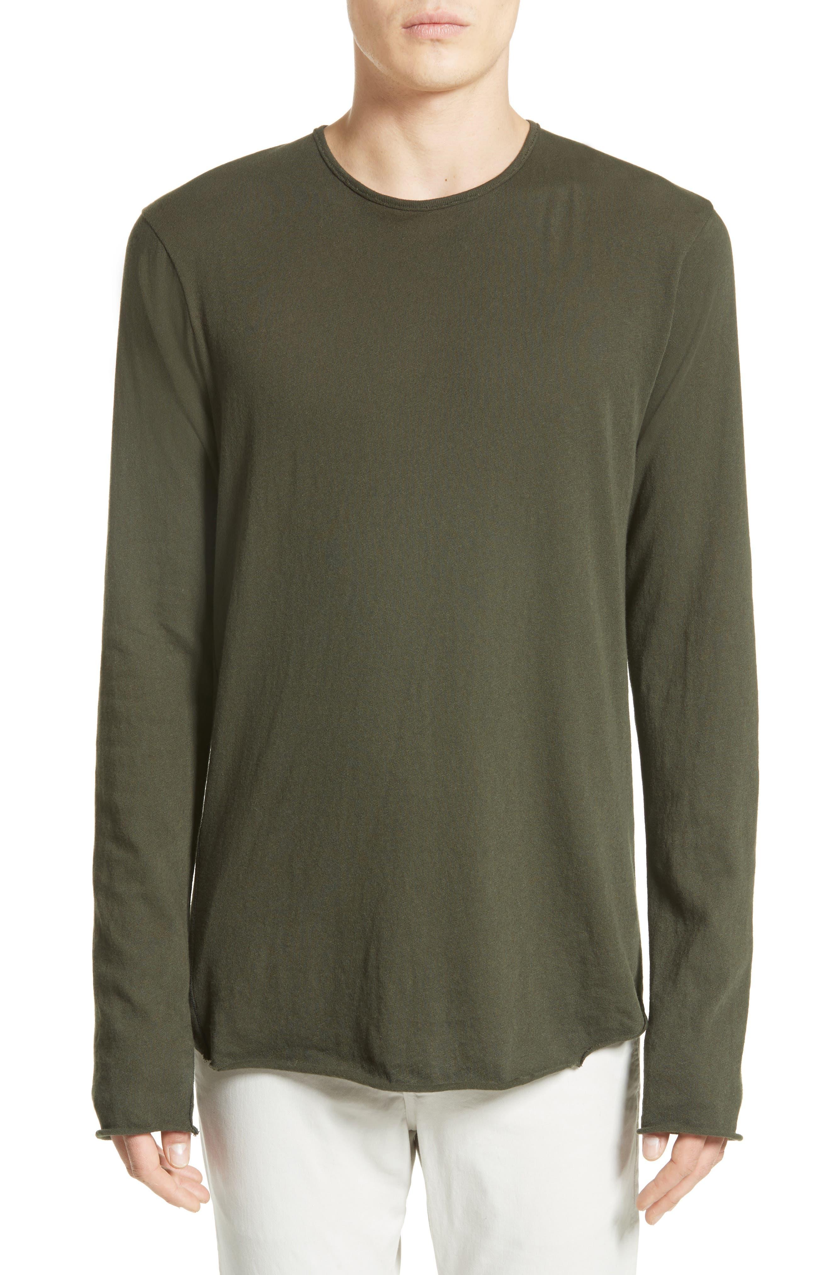 Hartley Cotton & Linen T-Shirt,                         Main,                         color, Dark Olive