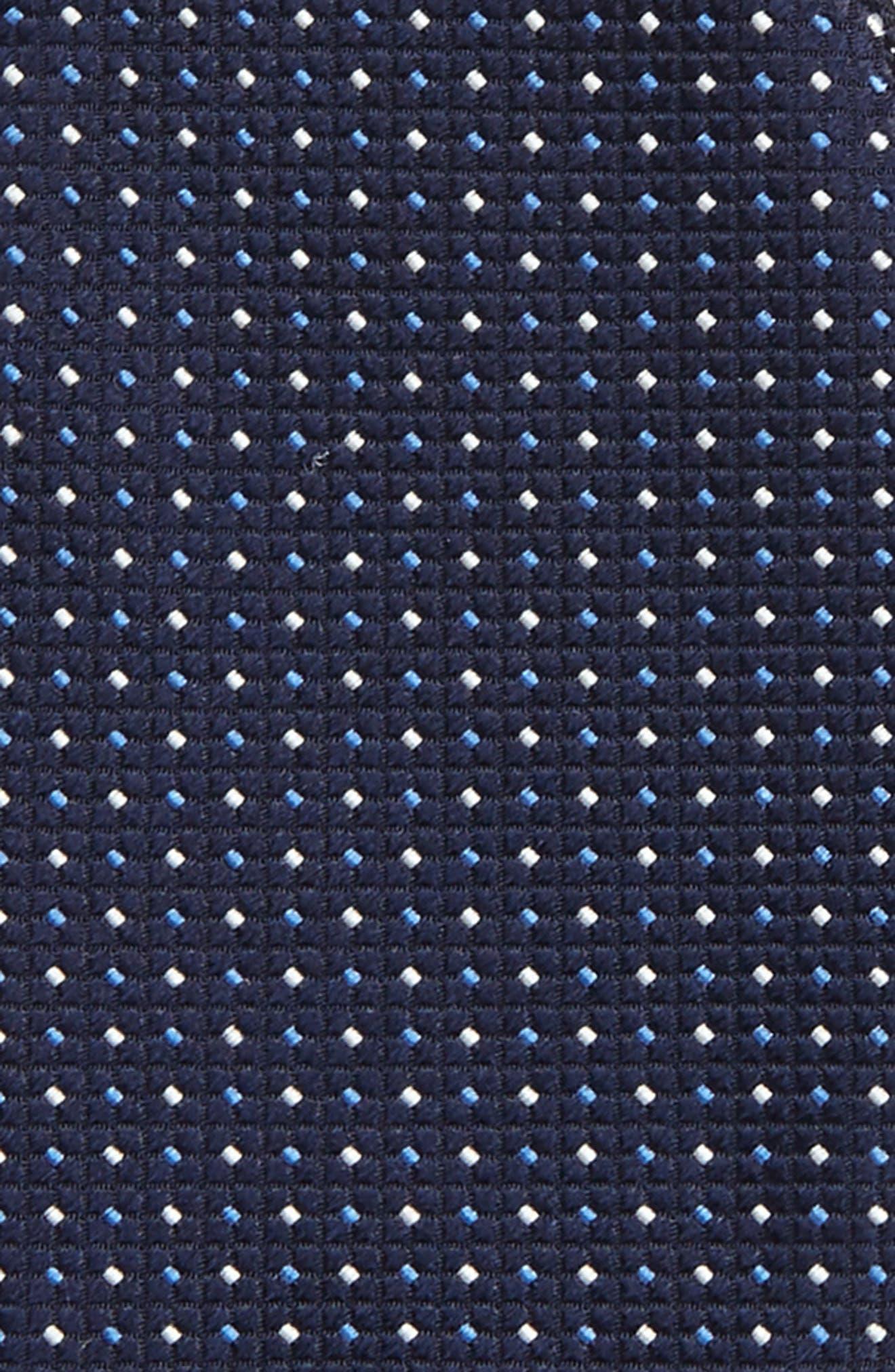 Dot Silk Bow Tie,                             Alternate thumbnail 3, color,                             Navy