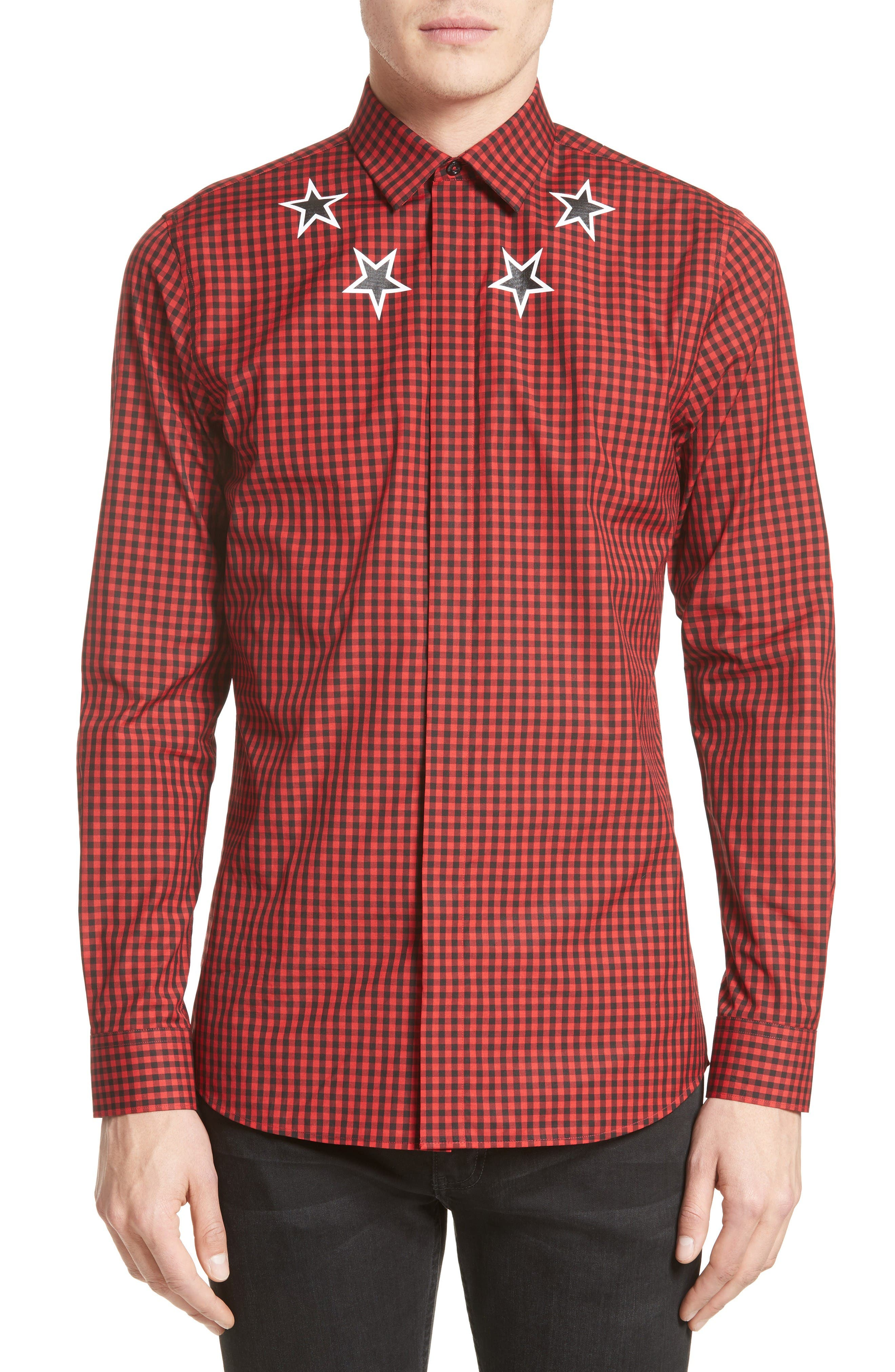 Extra Trim Fit Star Gingham Sport Shirt,                         Main,                         color, Red
