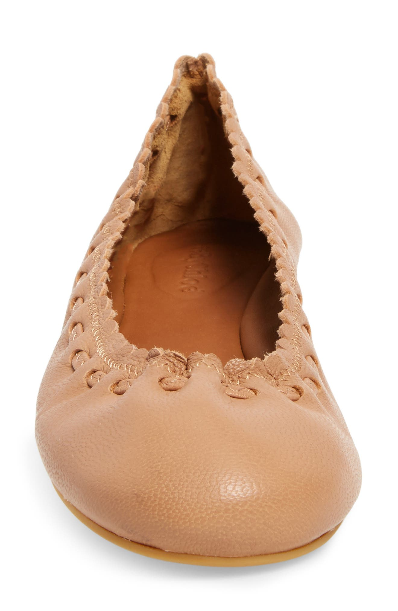 'Jane' Ballerina Flat,                             Alternate thumbnail 3, color,                             Nude/ Goat Leather