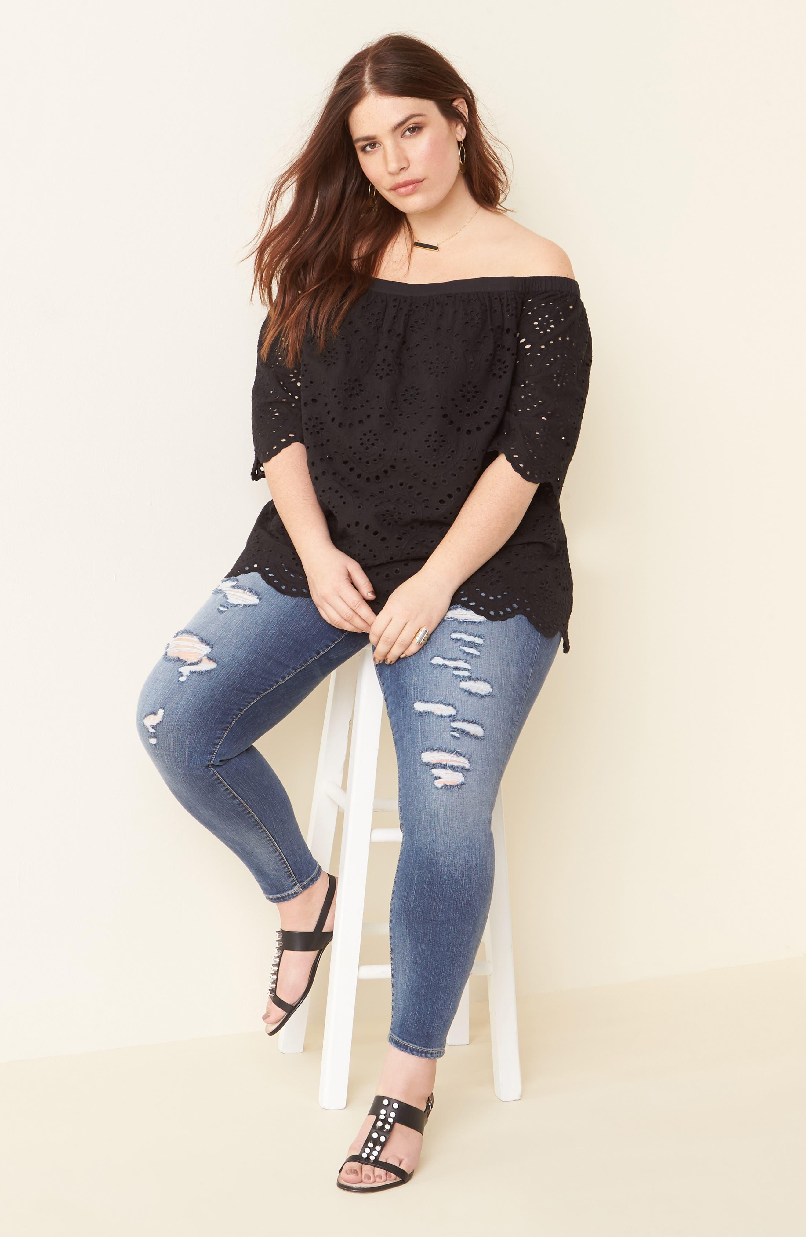 Alternate Image 2  - SLINK Jeans Ripped Stretch Ankle Skinny Jeans (Danika) (Plus Size)