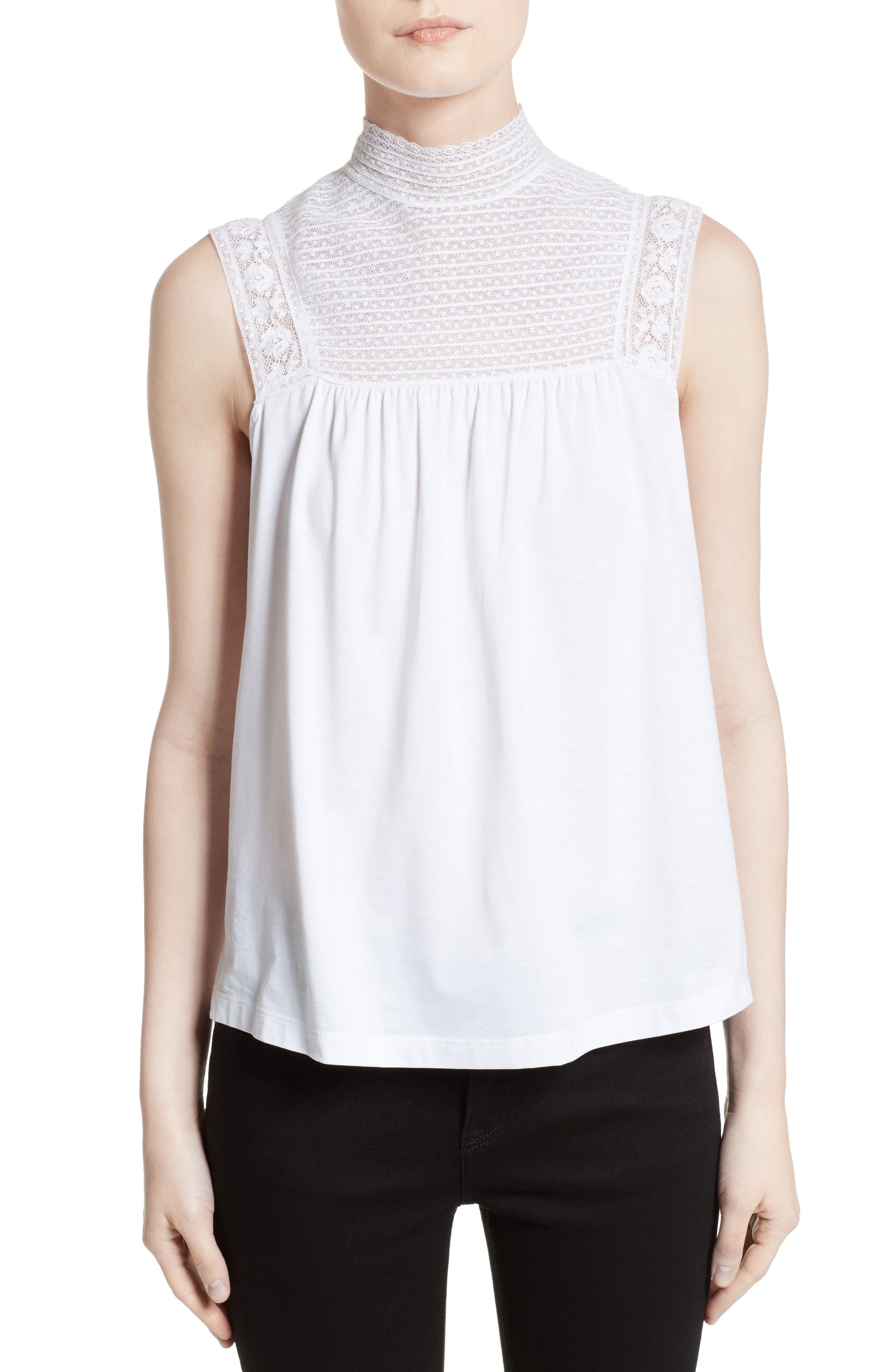 Burberry Piero Lace Yoke Top
