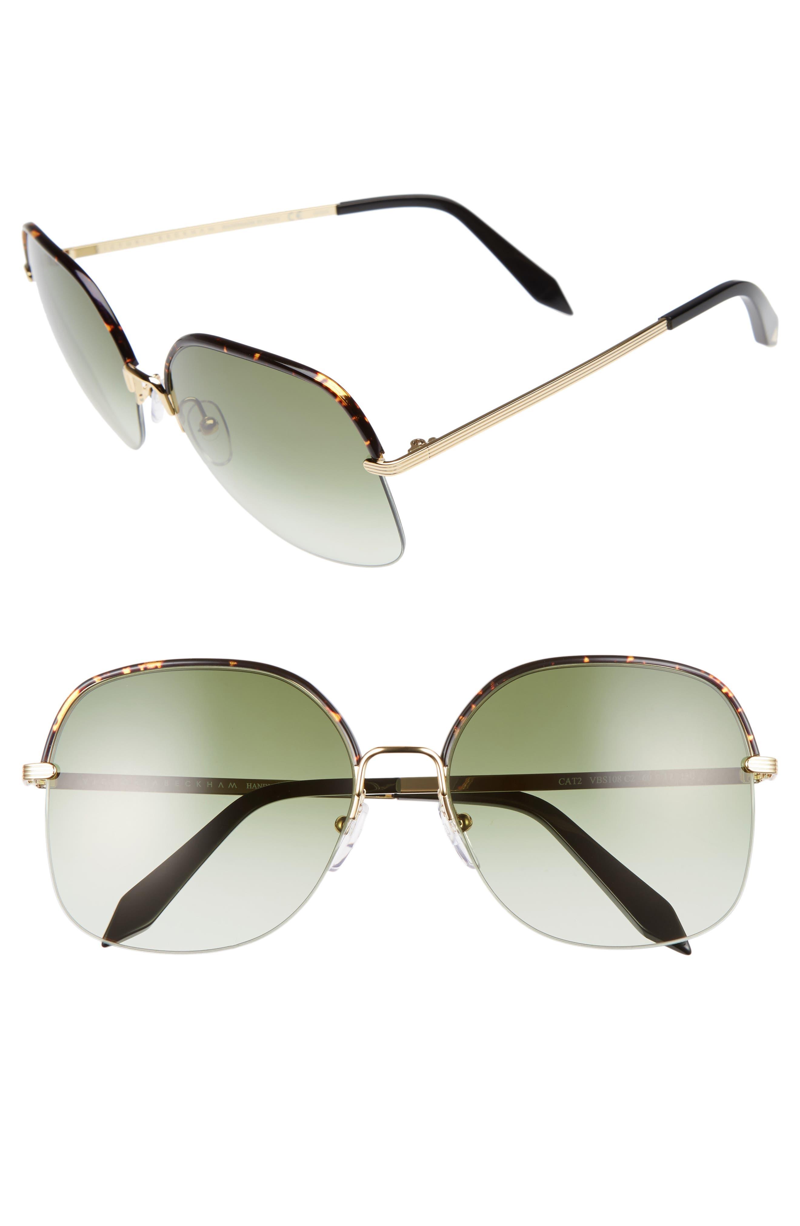 Windsor 60mm Gradient Lens Square Sunglasses,                         Main,                         color, Amber Tortoise