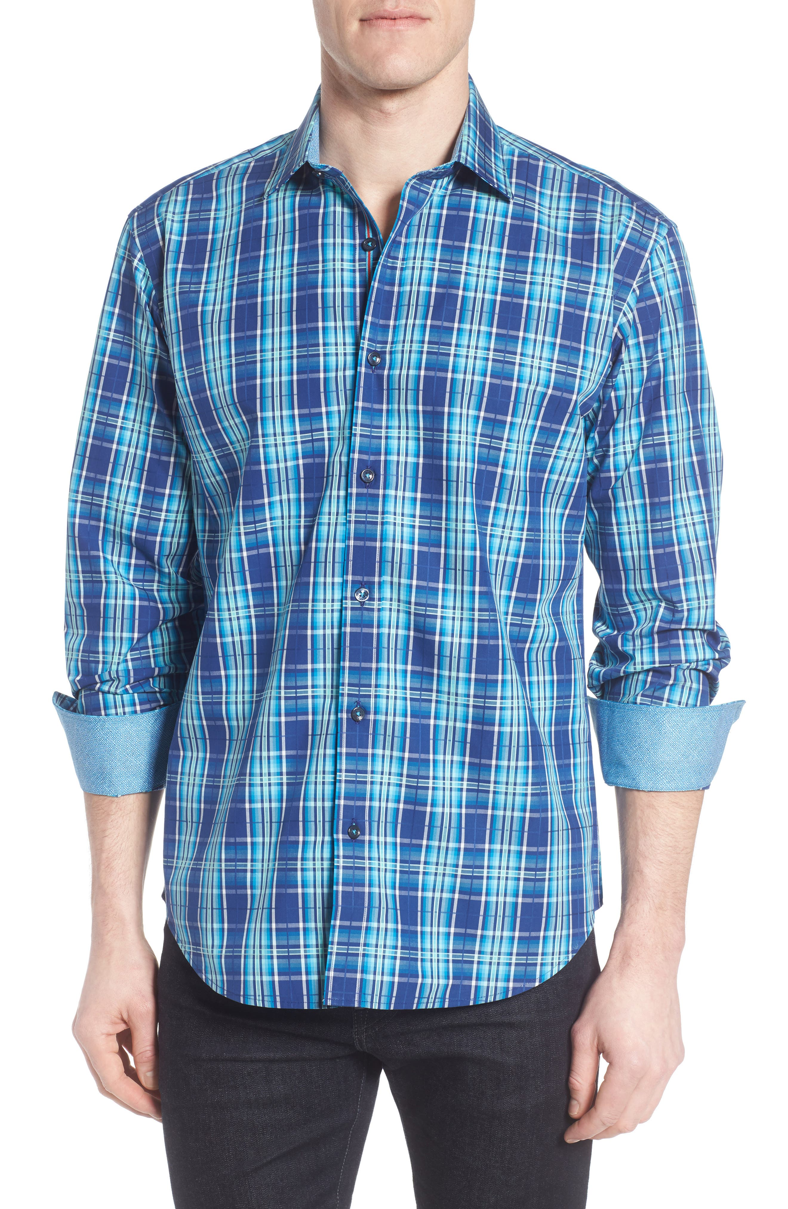 Shaped Fit Plaid Sport Shirt,                             Main thumbnail 1, color,                             Navy