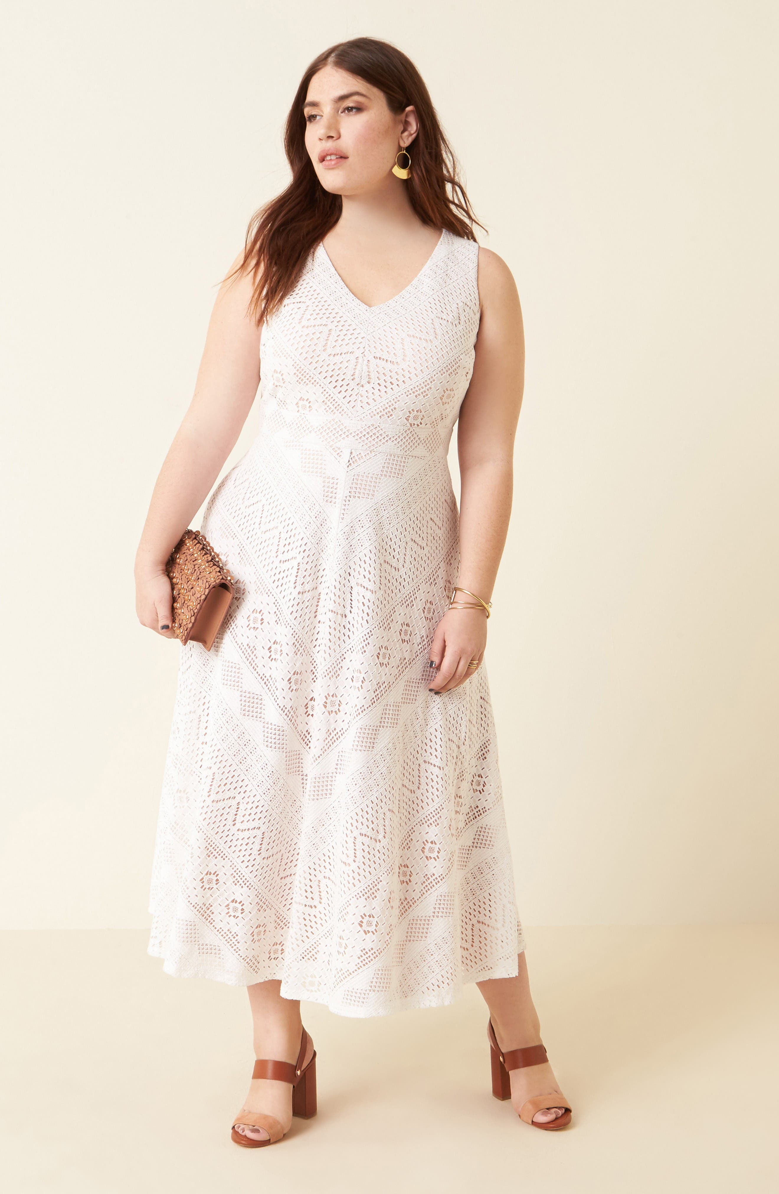 Alternate Image 2  - Vince Camuto Mitered Lace Midi Dress (Plus Size)
