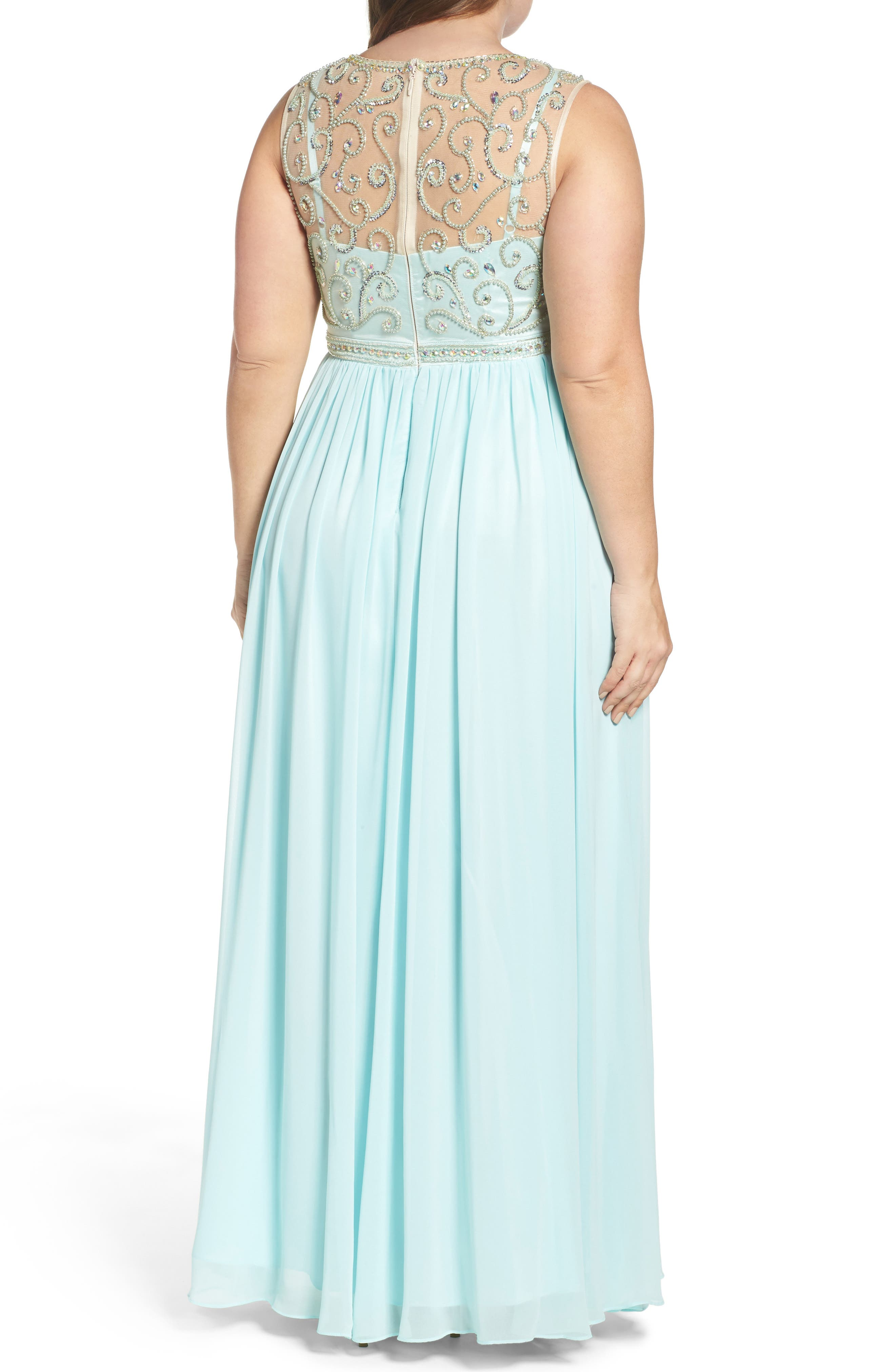 Beaded Illusion A-Line Gown,                             Alternate thumbnail 2, color,                             Mint