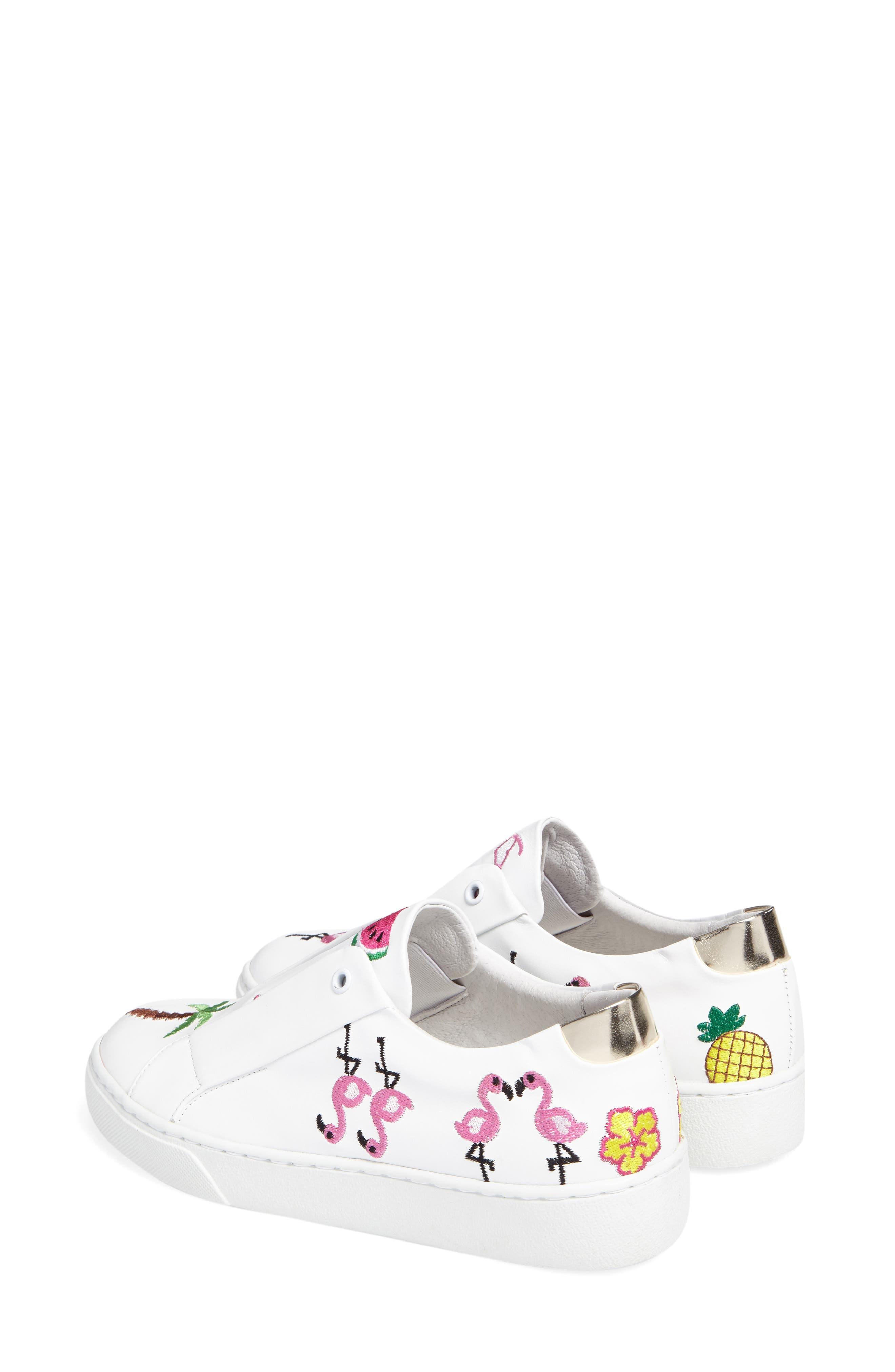 Kamea Slip-On Sneaker,                             Alternate thumbnail 3, color,                             White Leather/ Tropical