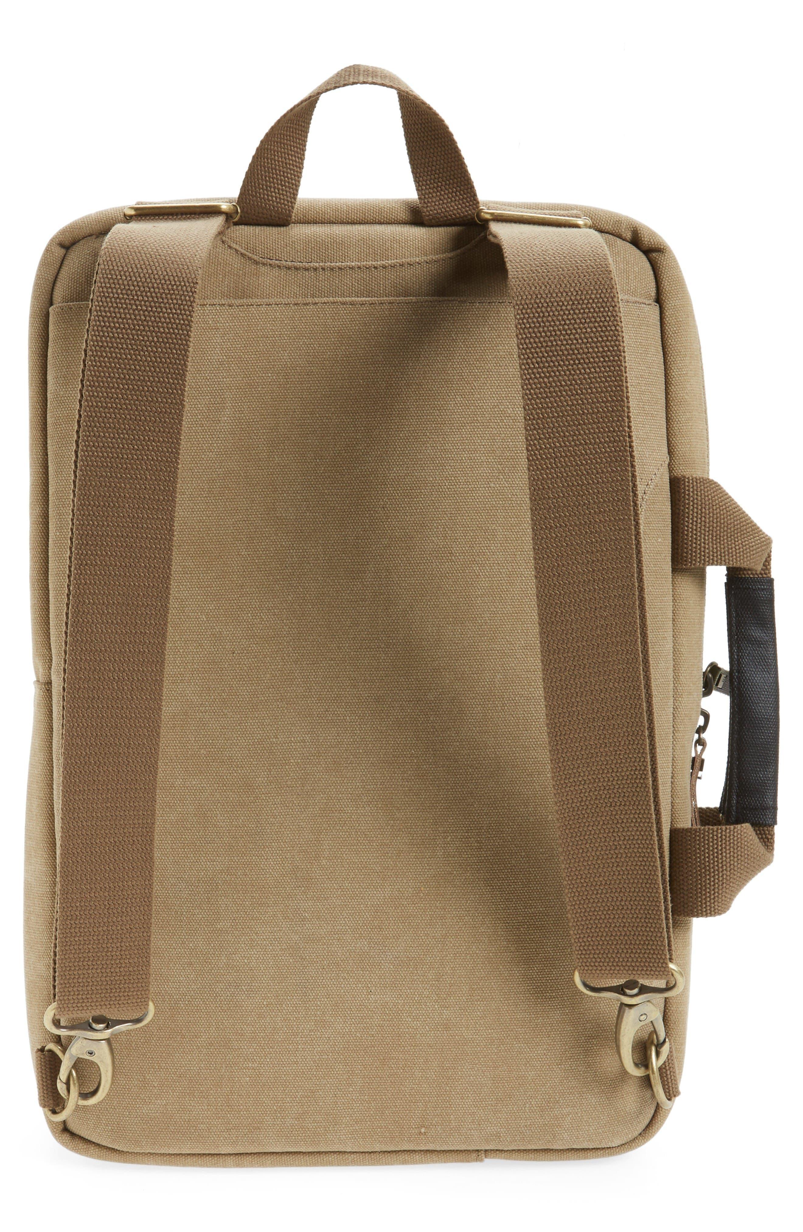 Radar Convertible Water Resistant Briefcase,                             Alternate thumbnail 3, color,                             Khaki