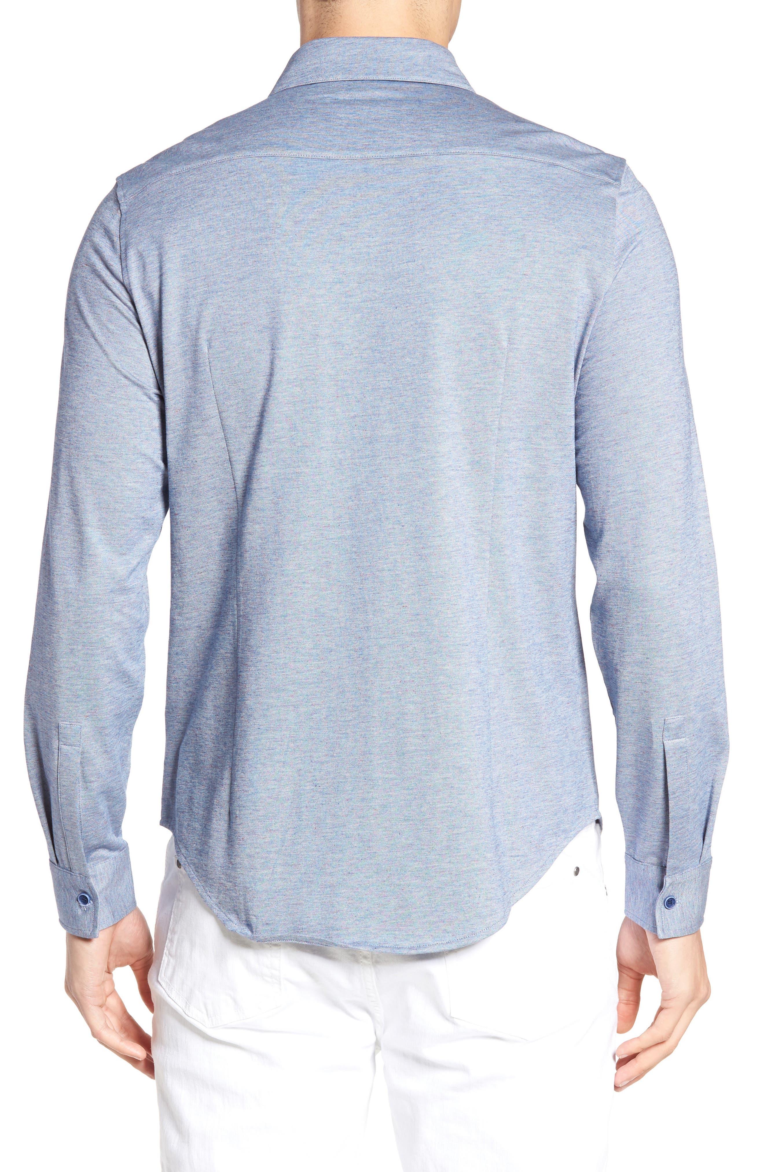 Alternate Image 2  - Bugatchi Shaped Fit Knit Sport Shirt