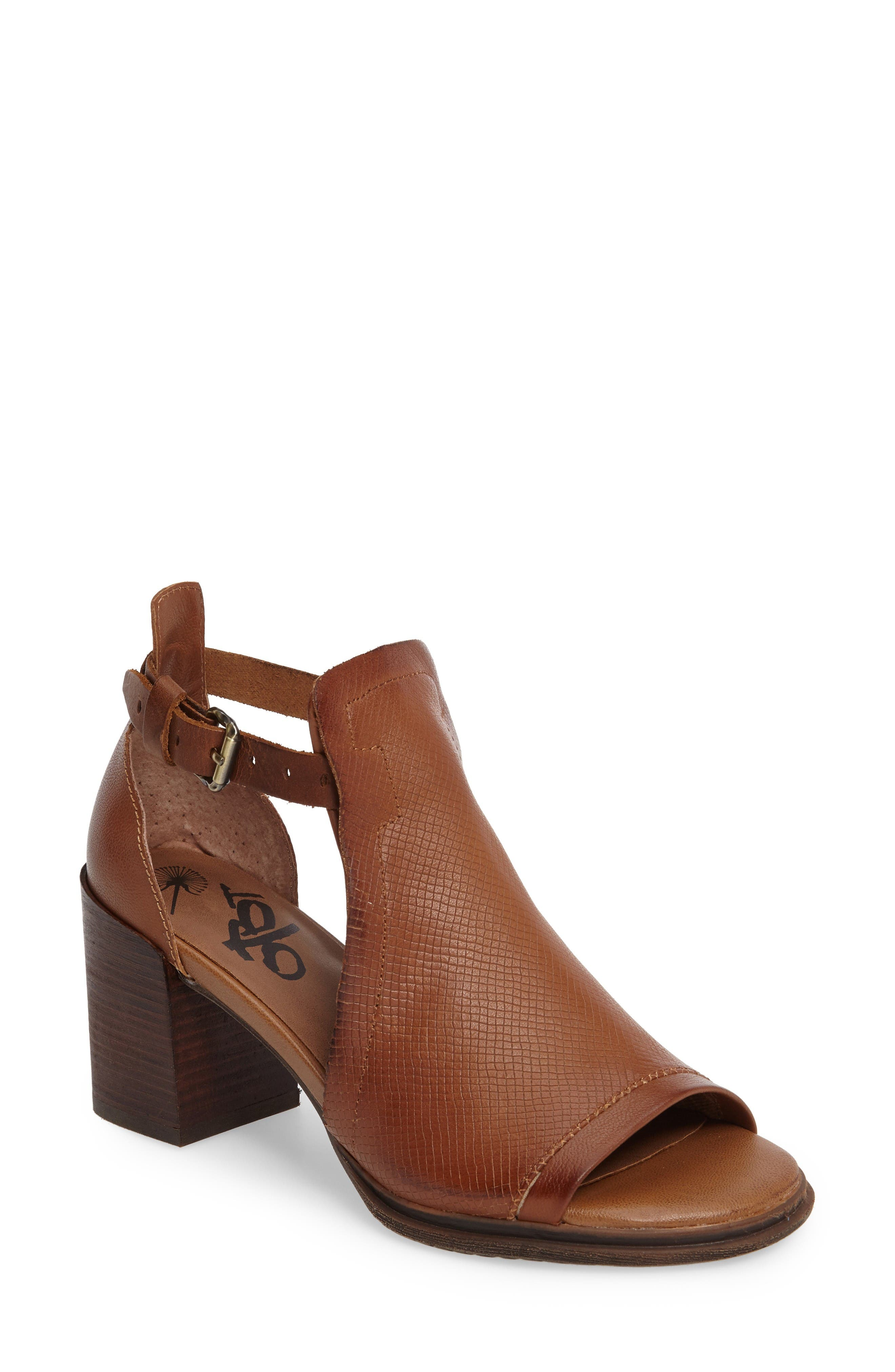 Metaphor Open Side Bootie,                             Main thumbnail 1, color,                             Medium Brown Leather