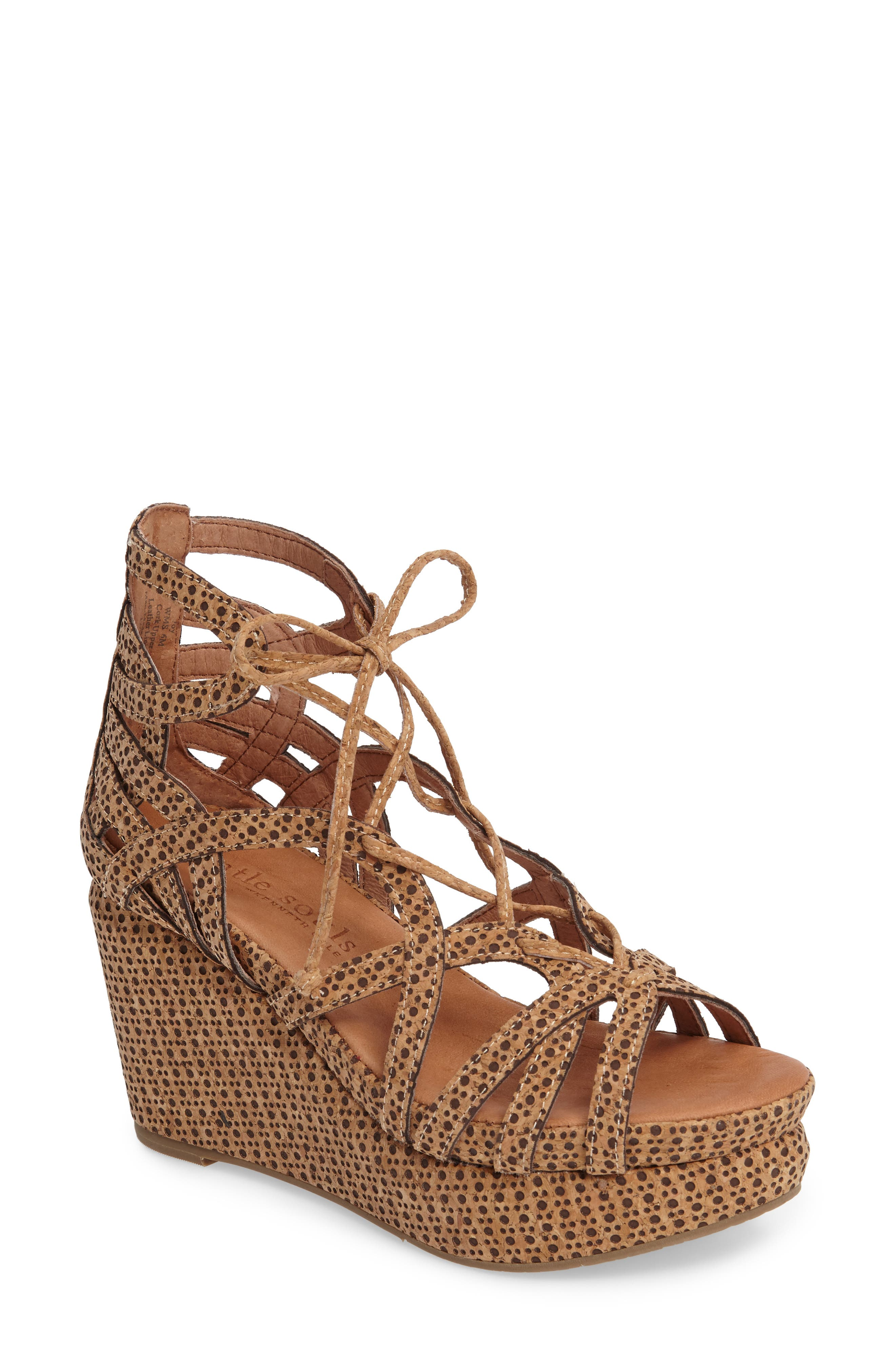 by Kenneth Cole 'Joy' Lace Up Nubuck Sandal,                             Main thumbnail 1, color,                             Natural Combo
