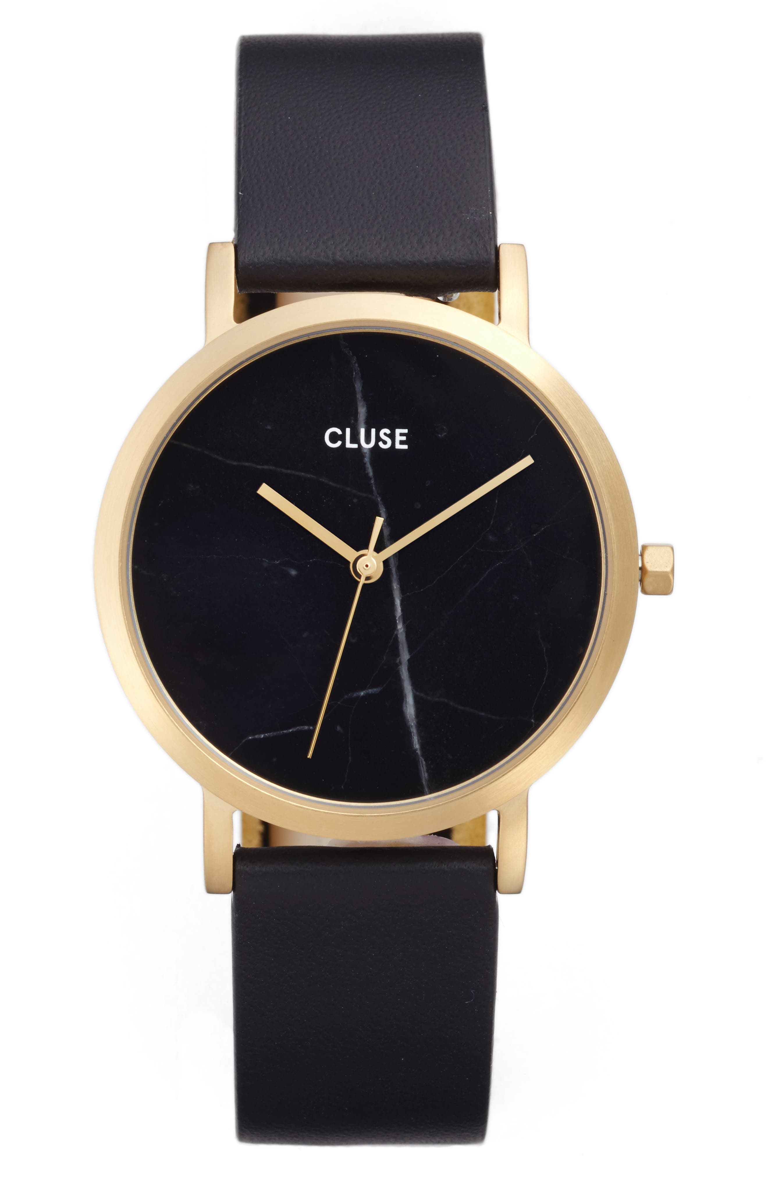 Alternate Image 1 Selected - CLUSE 'Minuit' Leather Strap Watch, 33mm
