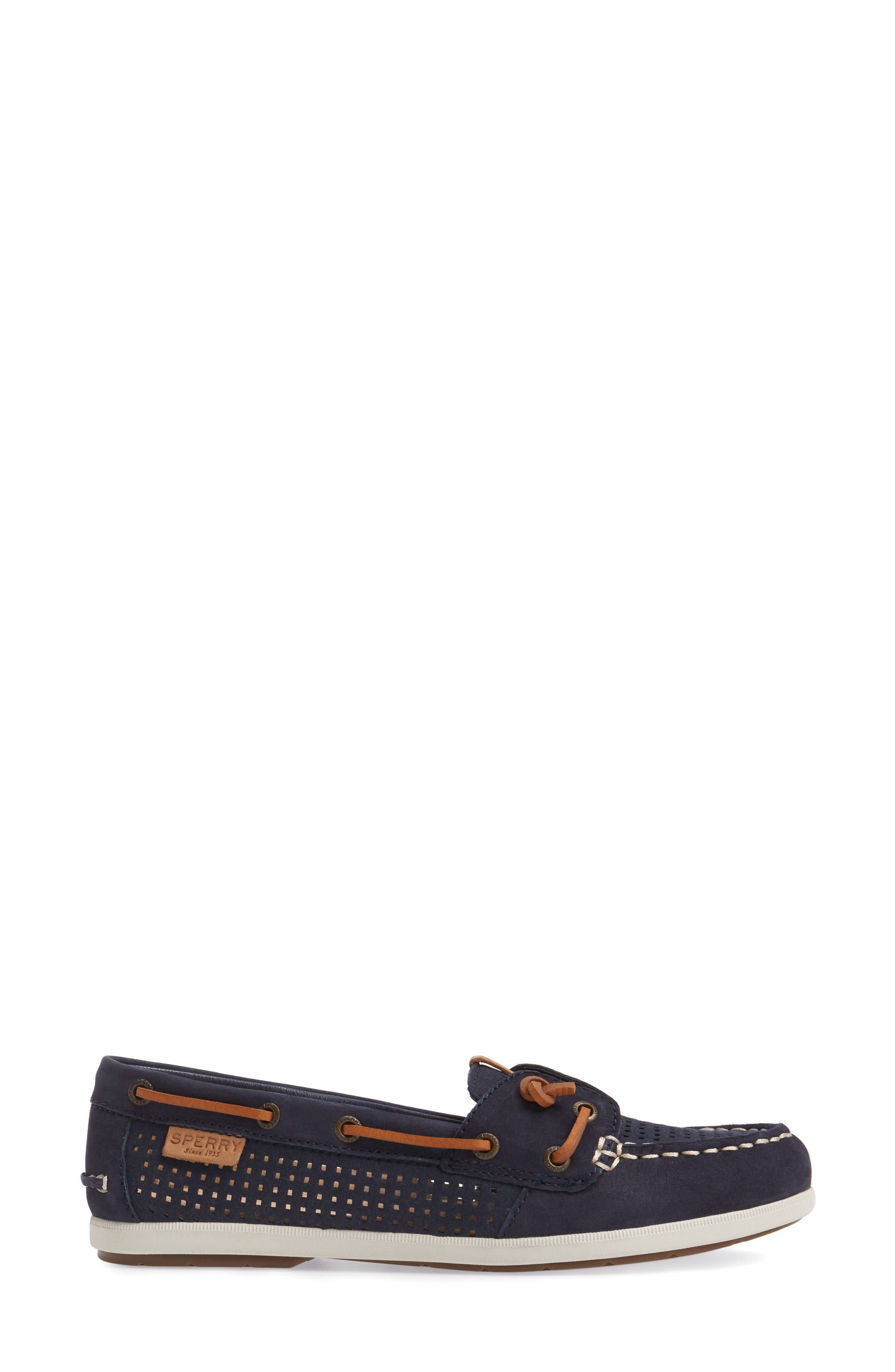 Coil Ivy Boat Shoe,                             Alternate thumbnail 3, color,                             Navy Leather