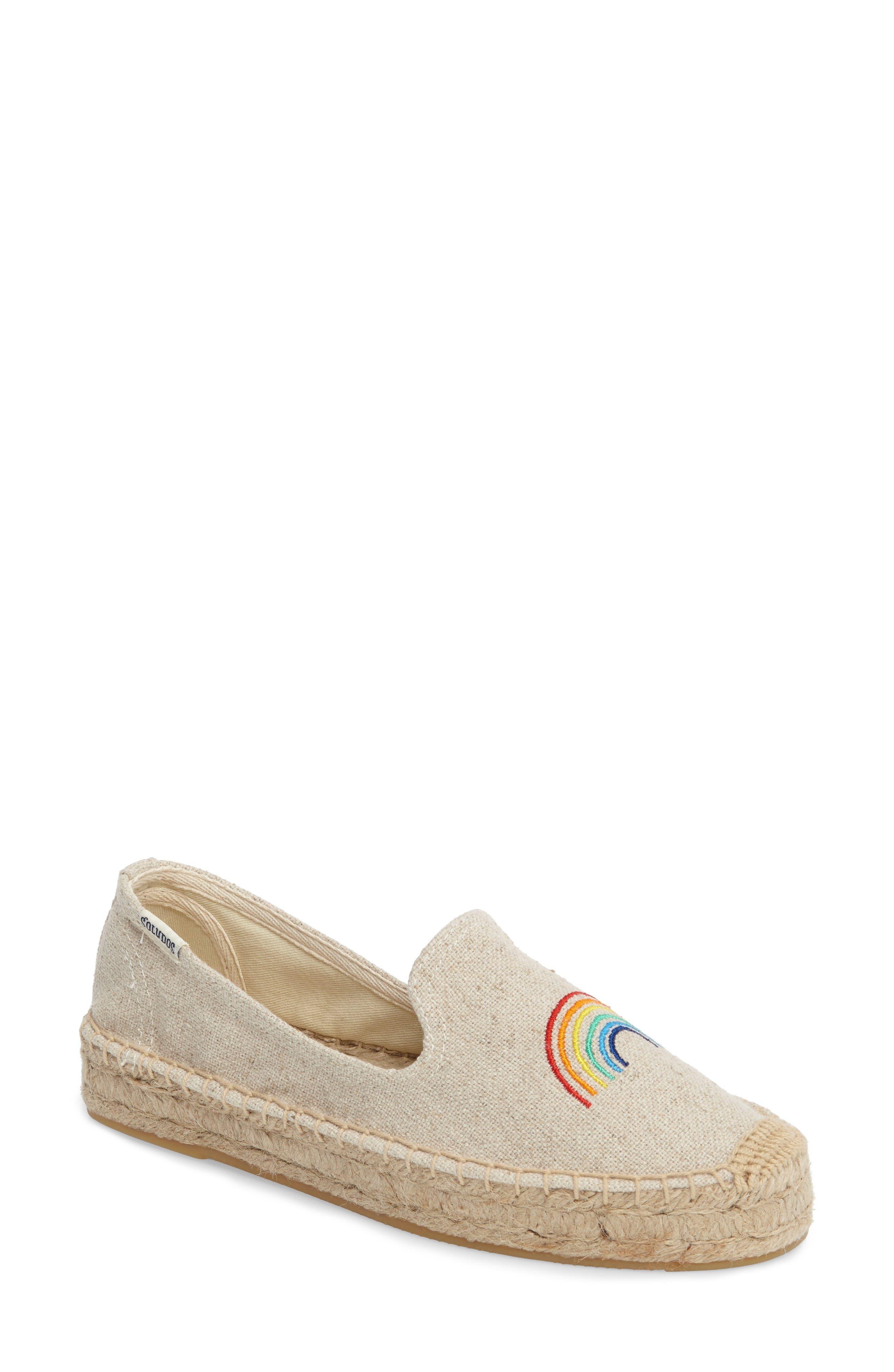X ASHKAHN Rainbow Embroidered Platform Espadrille,                         Main,                         color, Sand Canvas