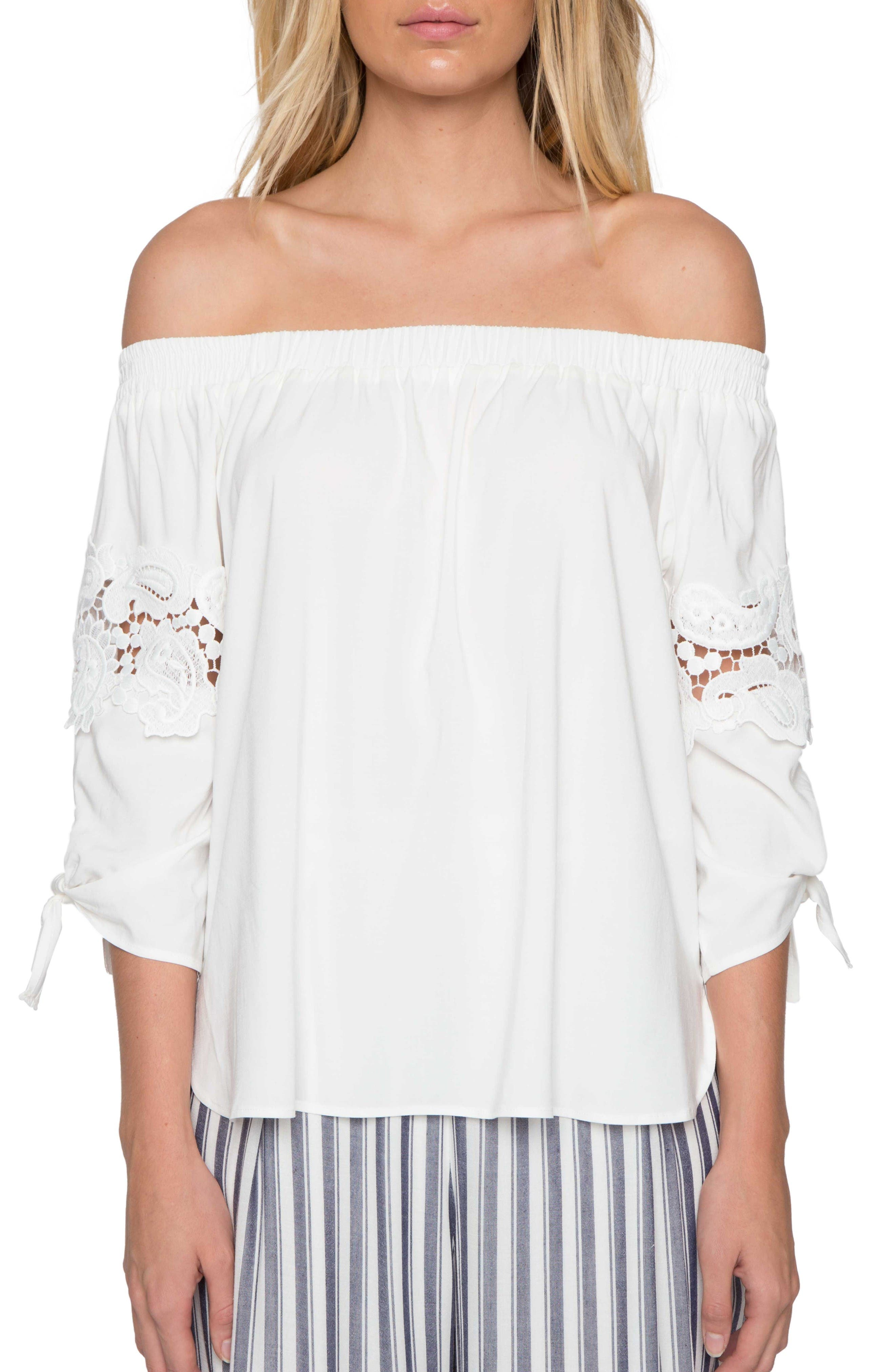Main Image - Willow & Clay Lace Off the Shoulder Blouse