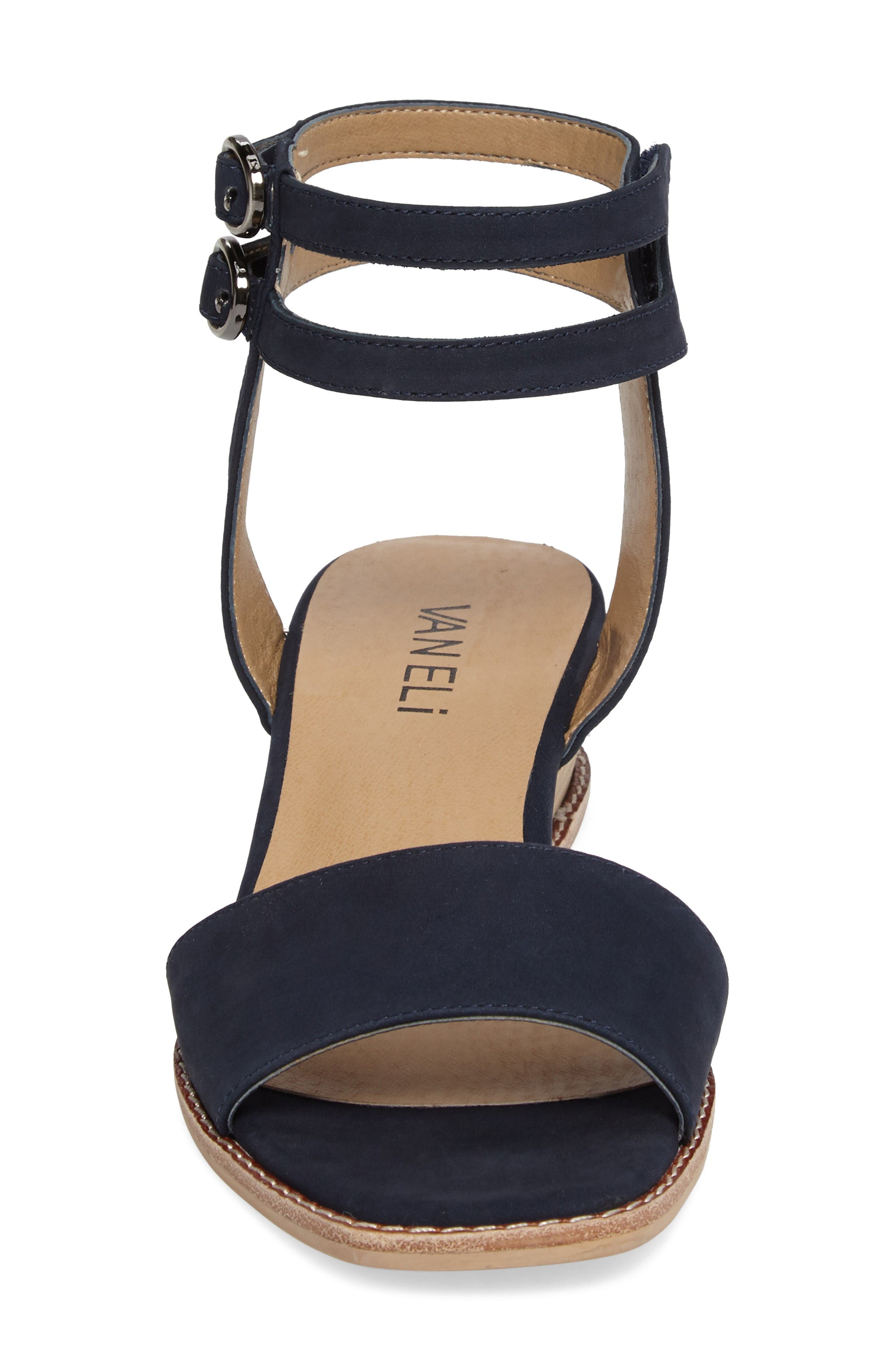 Jarita Ankle Strap Sandal,                             Alternate thumbnail 4, color,                             Navy Leather