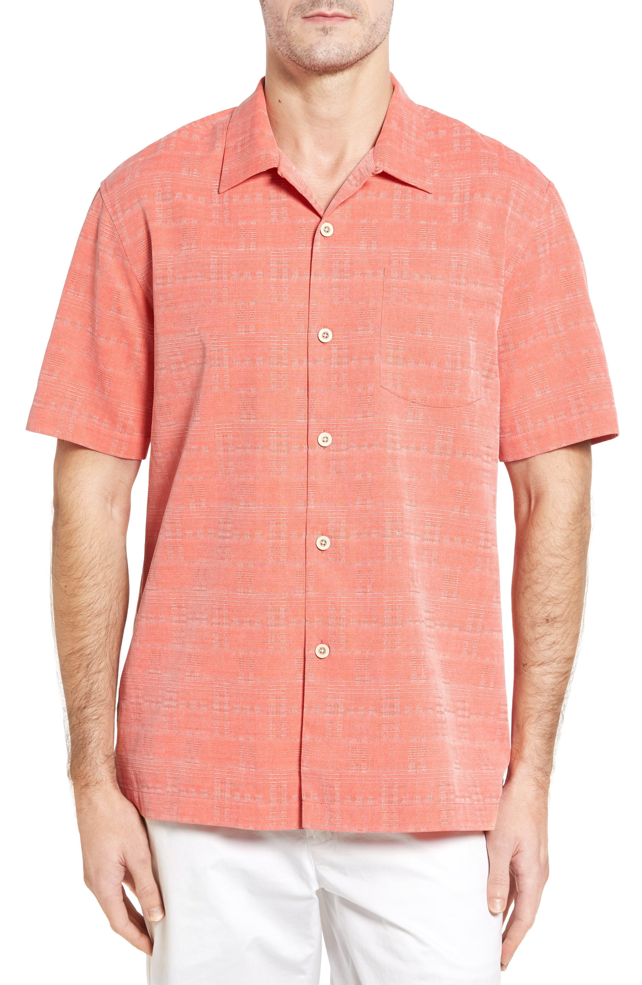 Main Image - Tommy Bahama Original Fit Jacquard Silk Camp Shirt