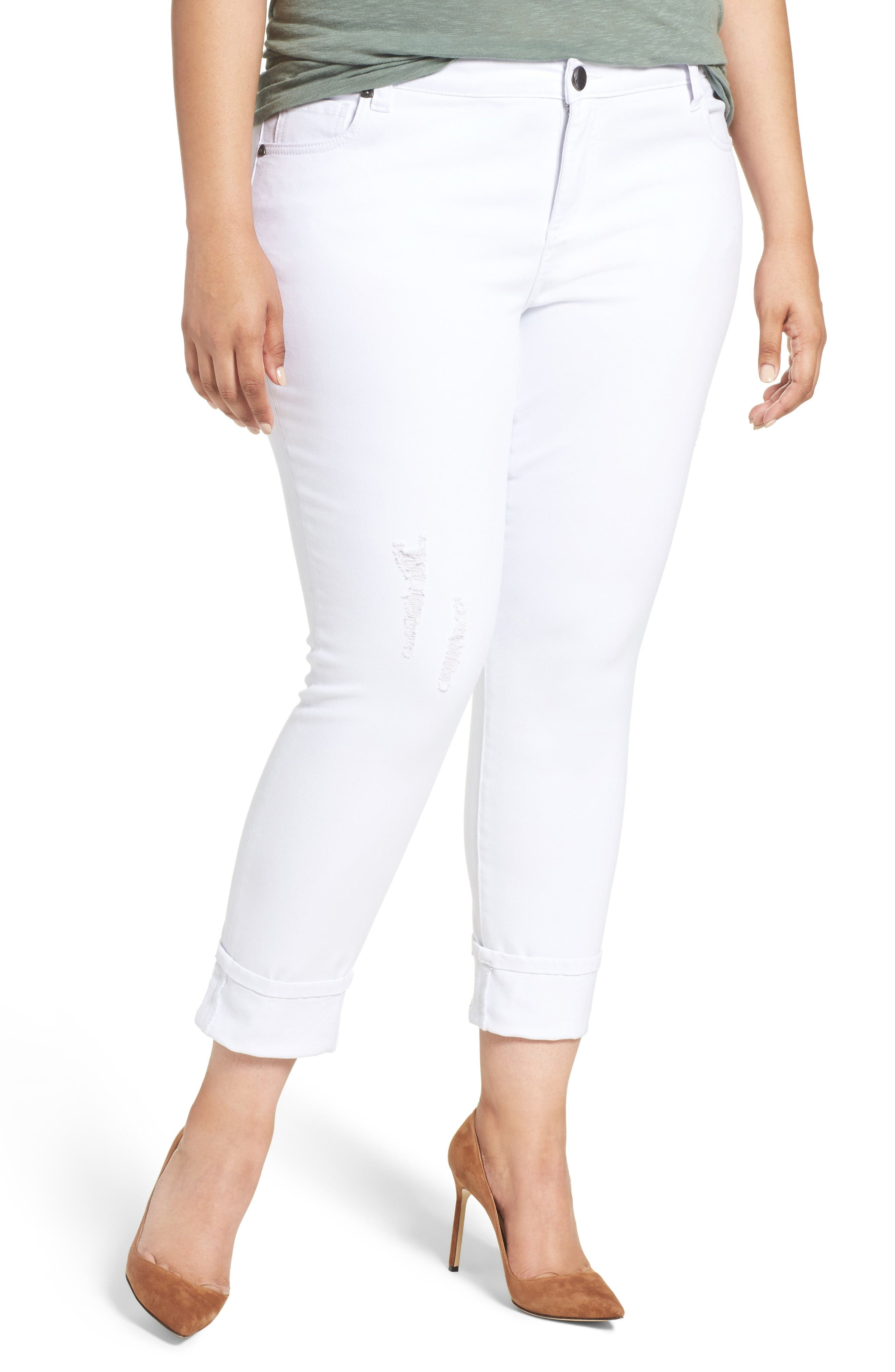 Alternate Image 1 Selected - KUT from the Kloth Catherine Distressed Wide Cuff Boyfriend Jeans (Optic White) (Plus Size)