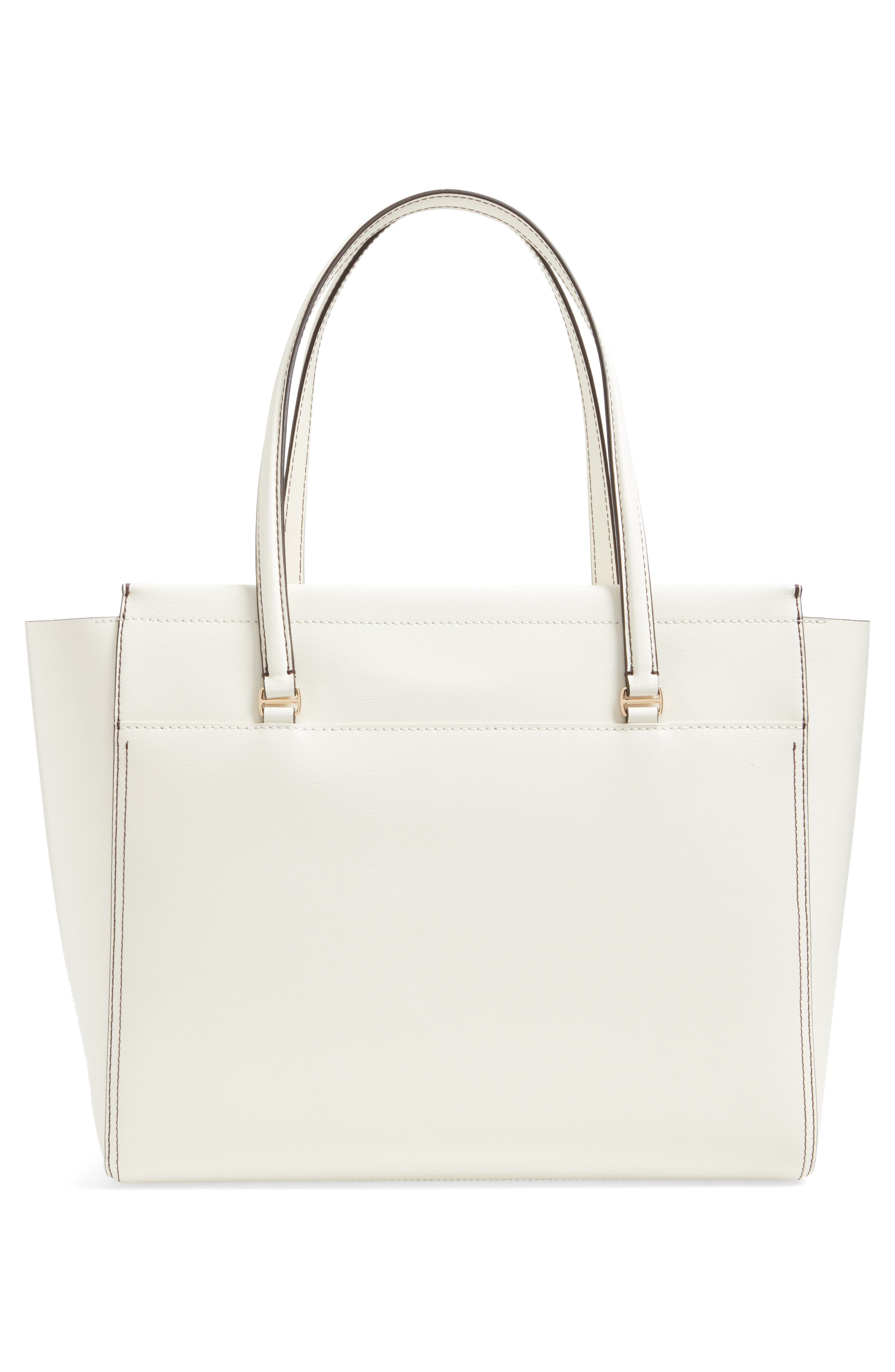 Parker Leather Tote,                             Alternate thumbnail 3, color,                             New Ivory/ Mango