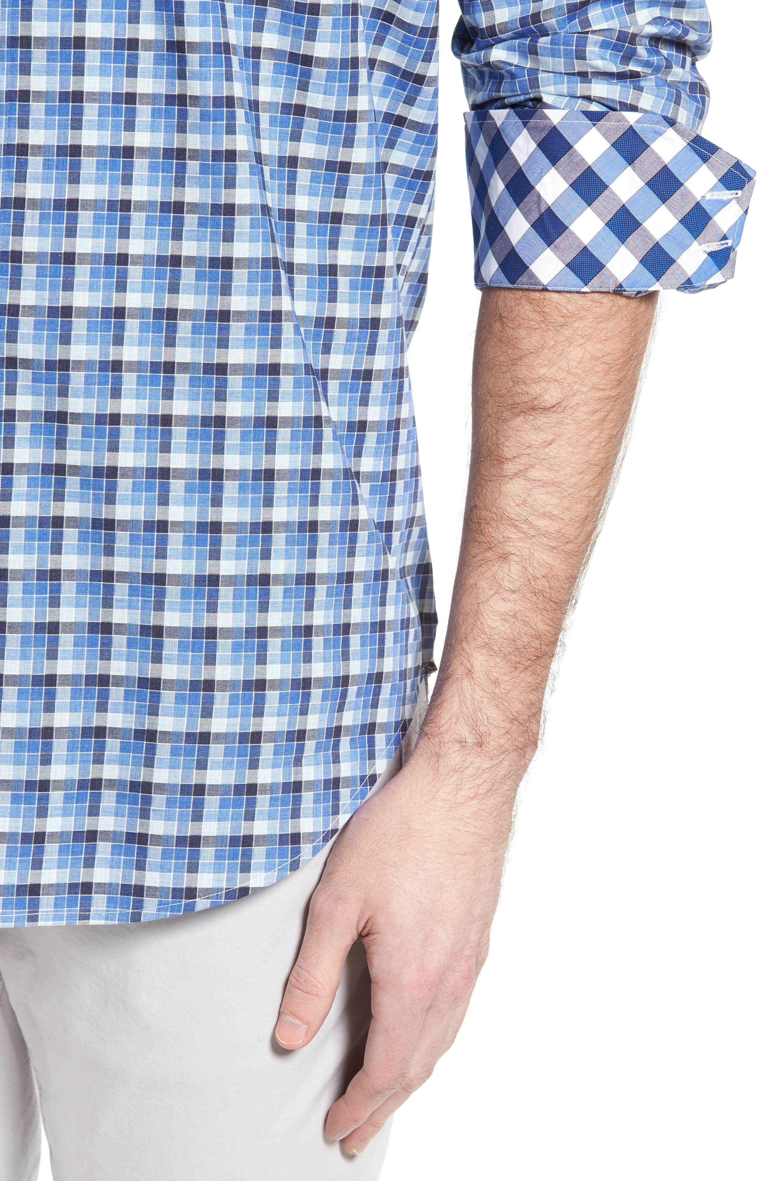 Classic Fit Funky Check Sport Shirt,                             Alternate thumbnail 4, color,                             Blue