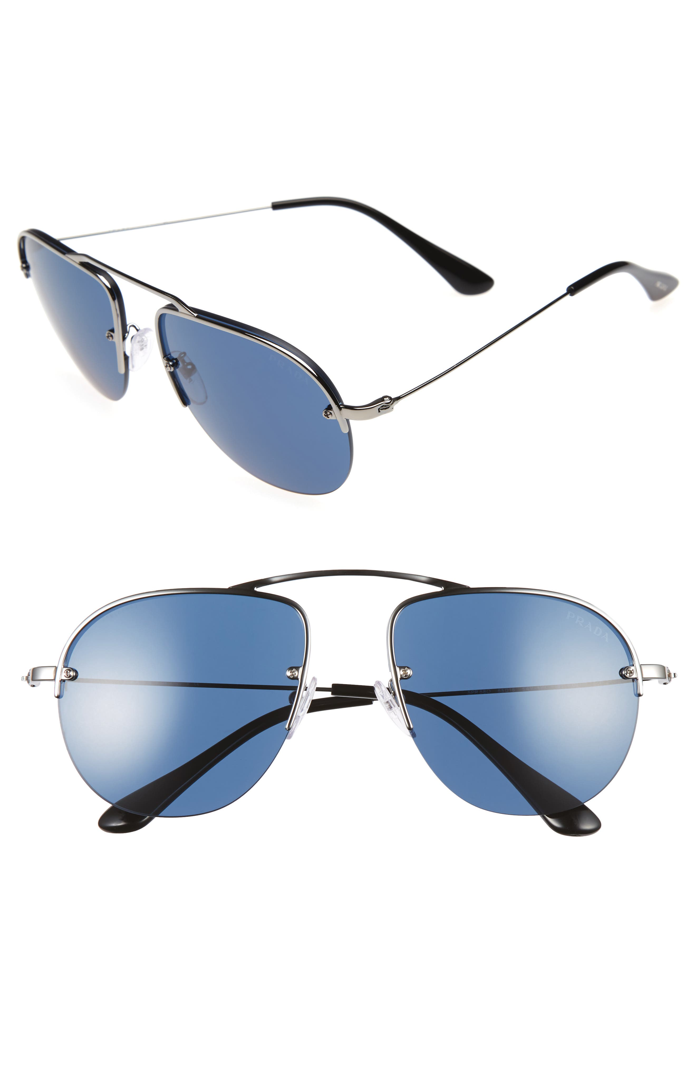 Prada Parallel Universe 55mm Aviator Sunglasses