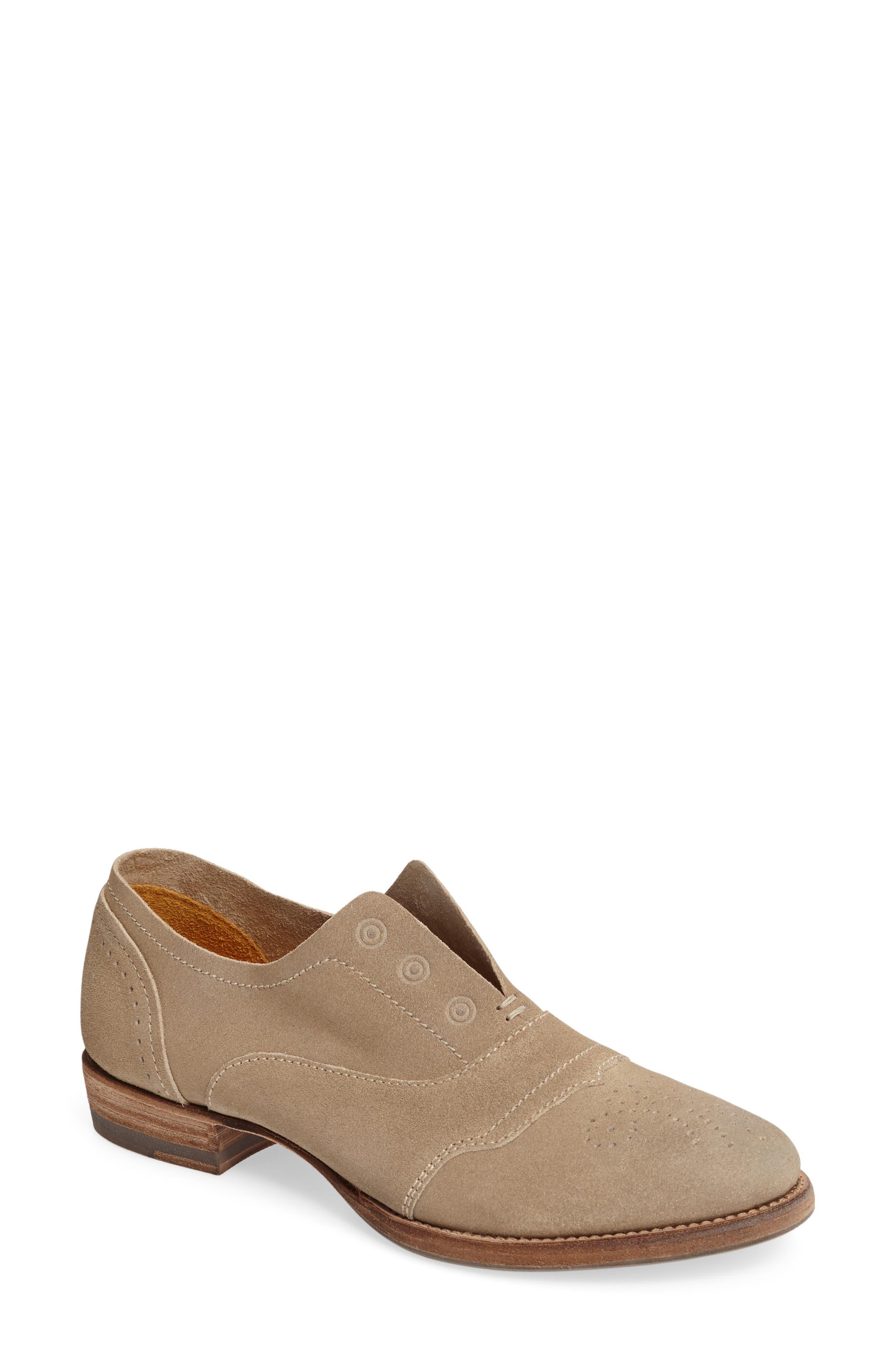 'HL55' Slip-On Oxford,                         Main,                         color, Beige Leather