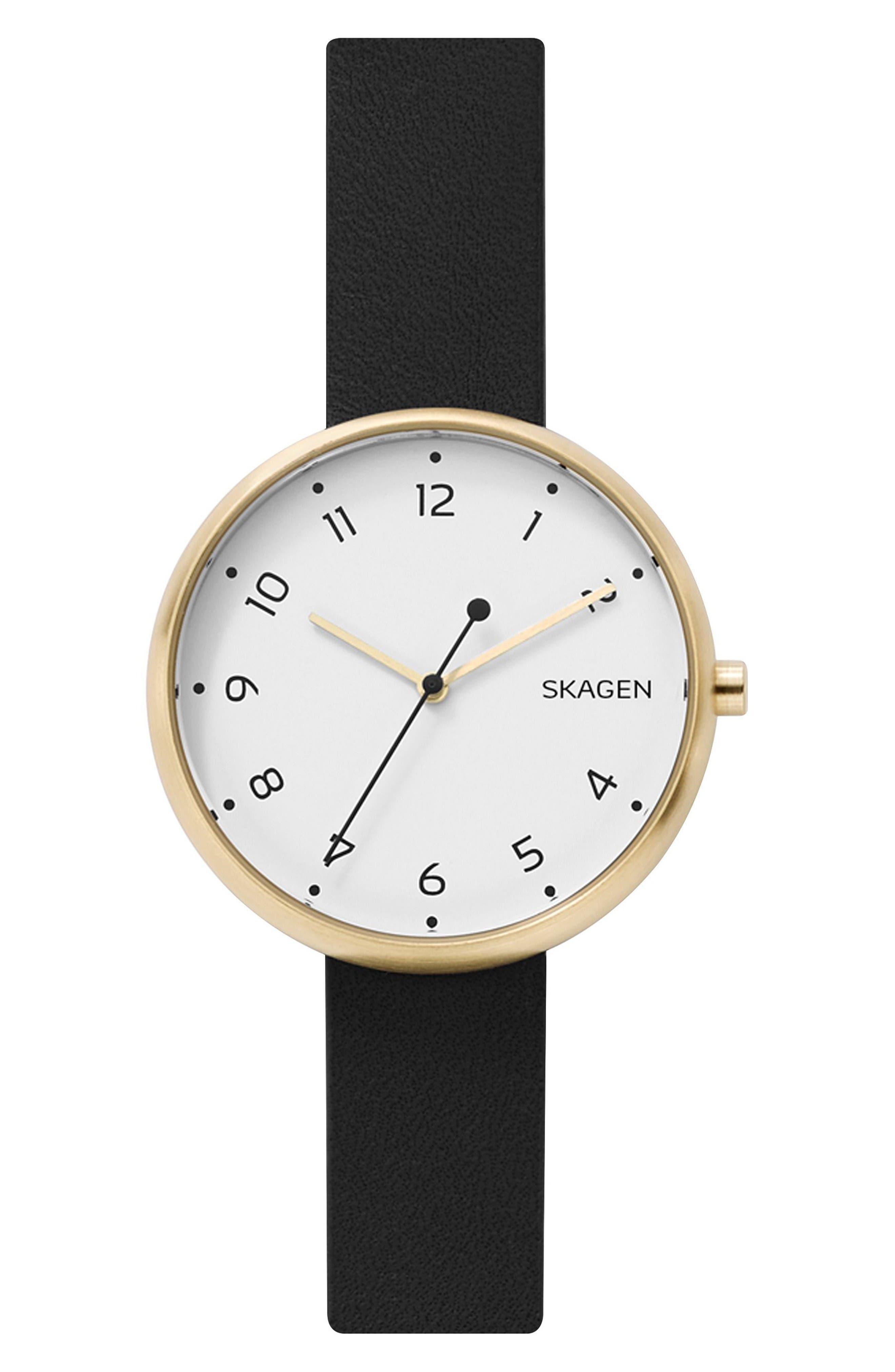 Signatur Leather Strap Watch, 36mm,                             Main thumbnail 1, color,                             Black/ White/ Gold