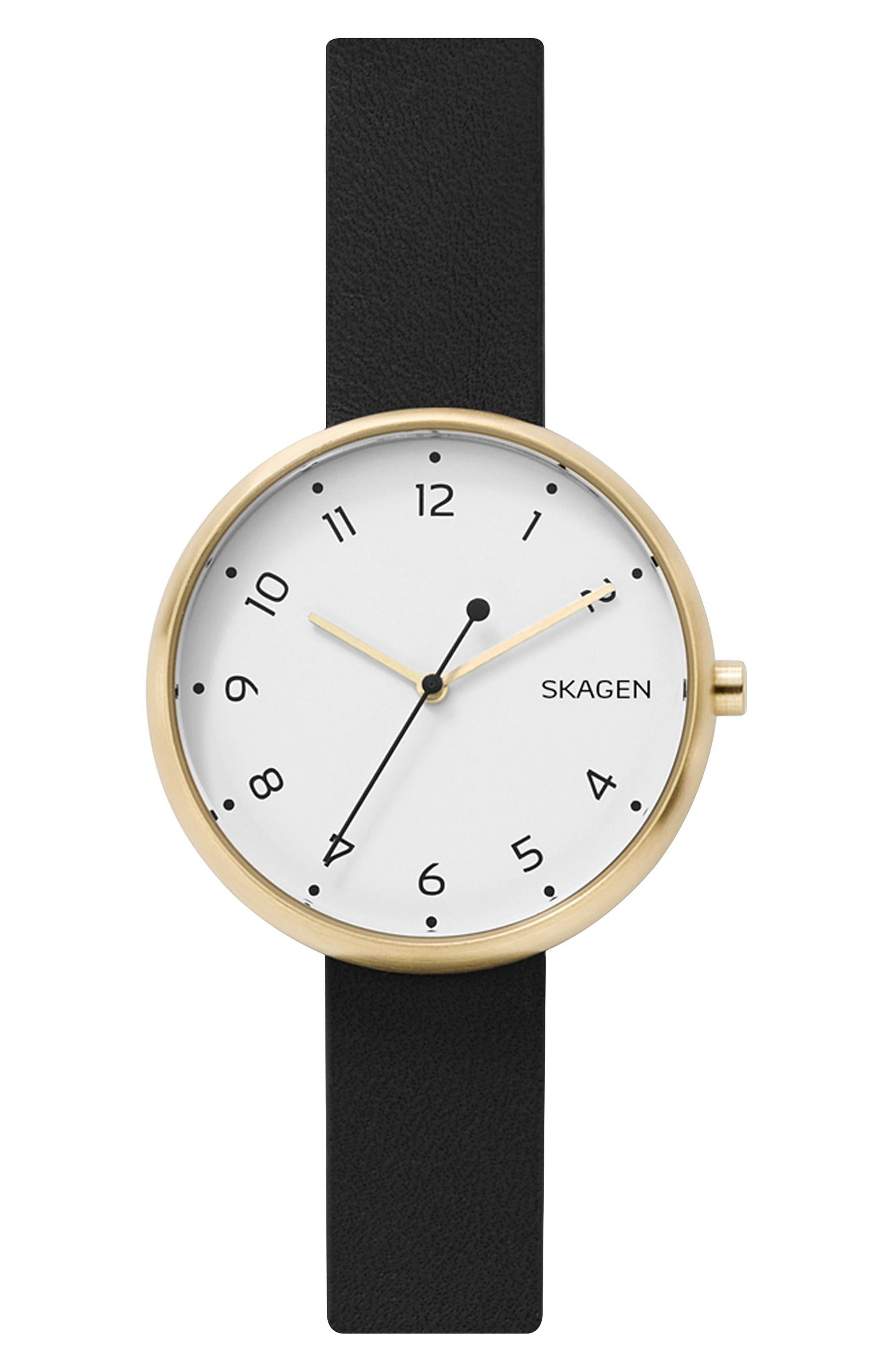 Signatur Leather Strap Watch, 36mm,                         Main,                         color, Black/ White/ Gold