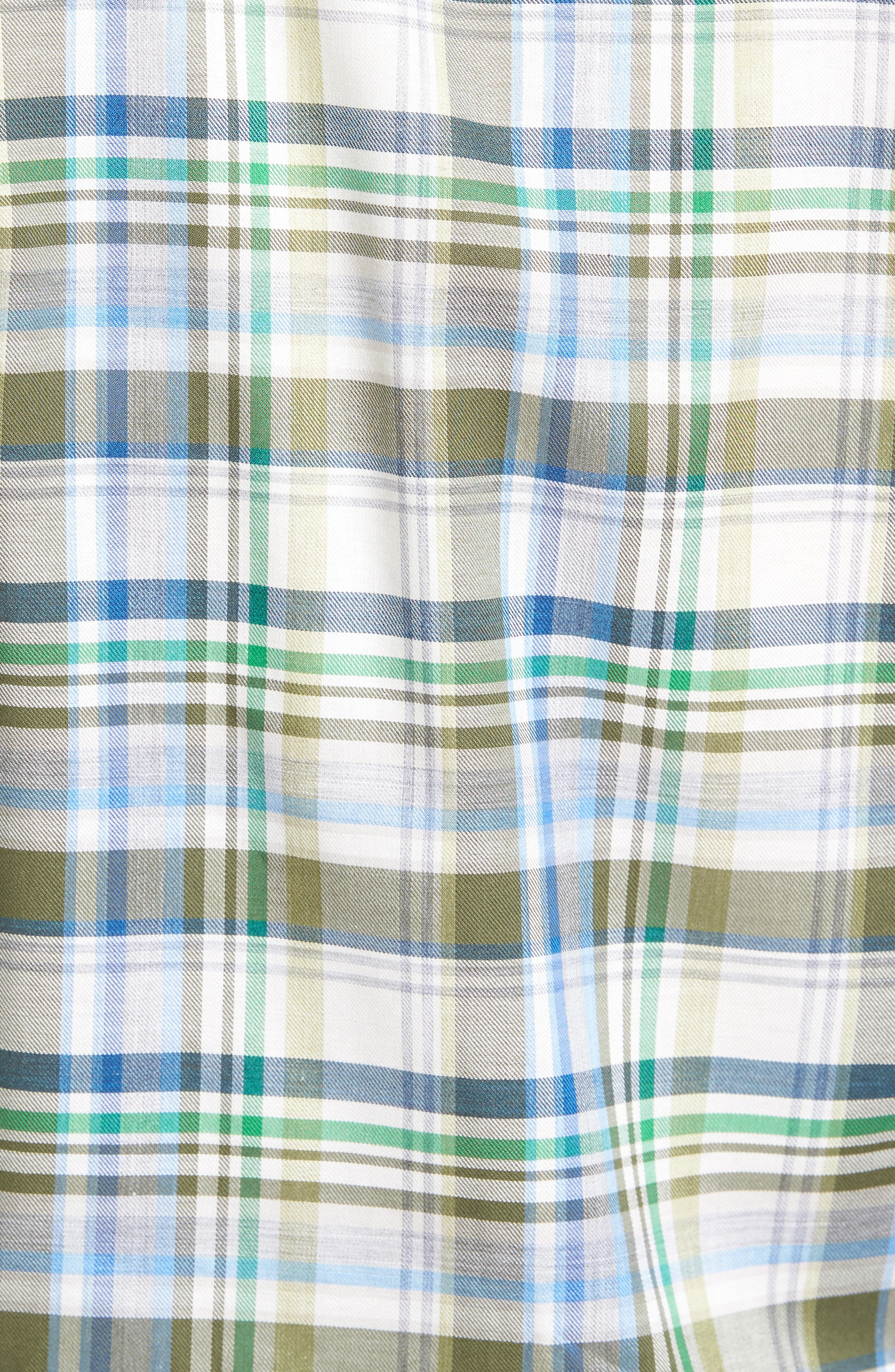 Anderson Classic Fit Plaid Micro Twill Sport Shirt,                             Alternate thumbnail 5, color,                             Green