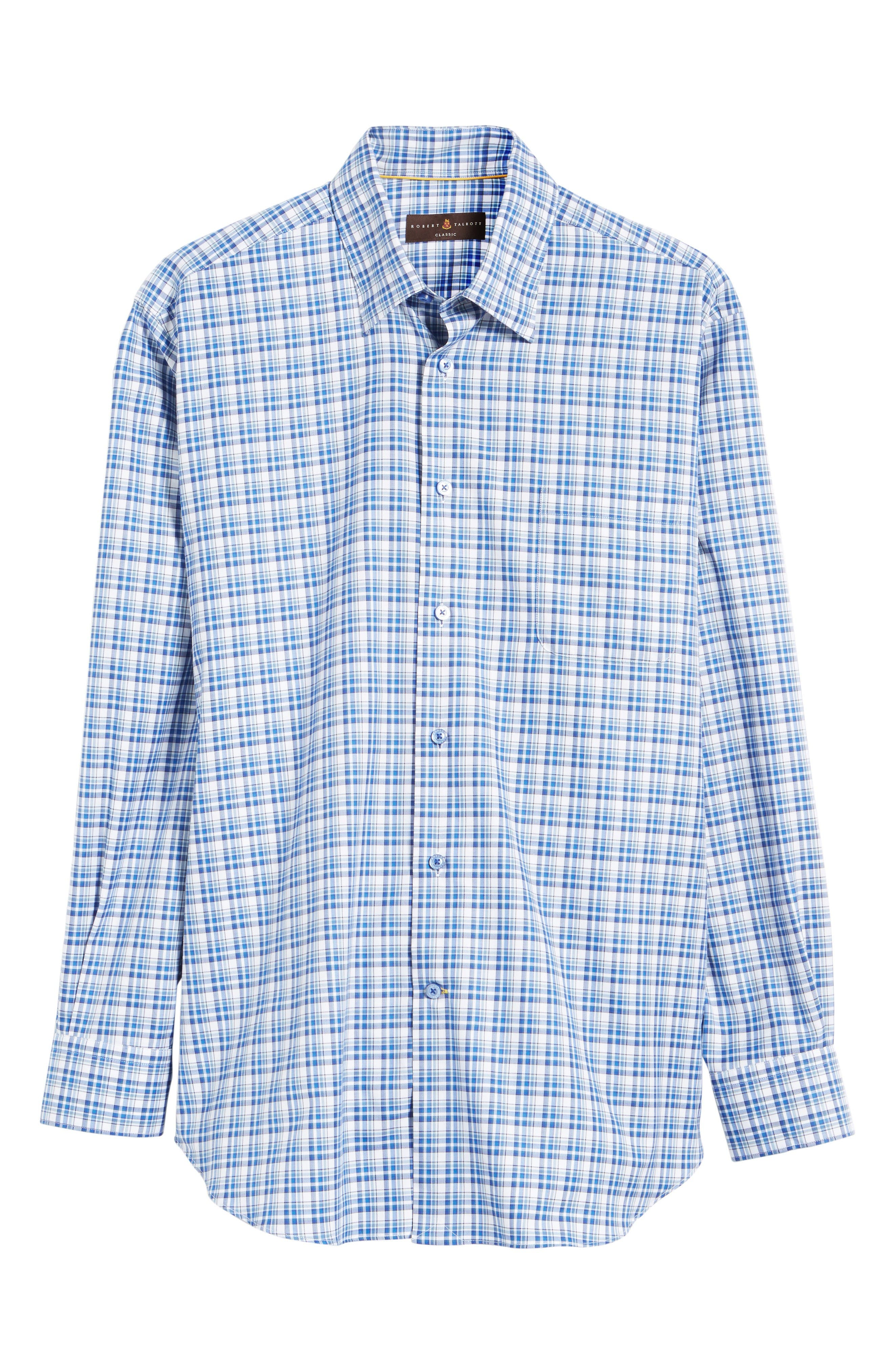 Anderson Classic Fit Plaid Micro Twill Sport Shirt,                             Alternate thumbnail 6, color,                             Pacific