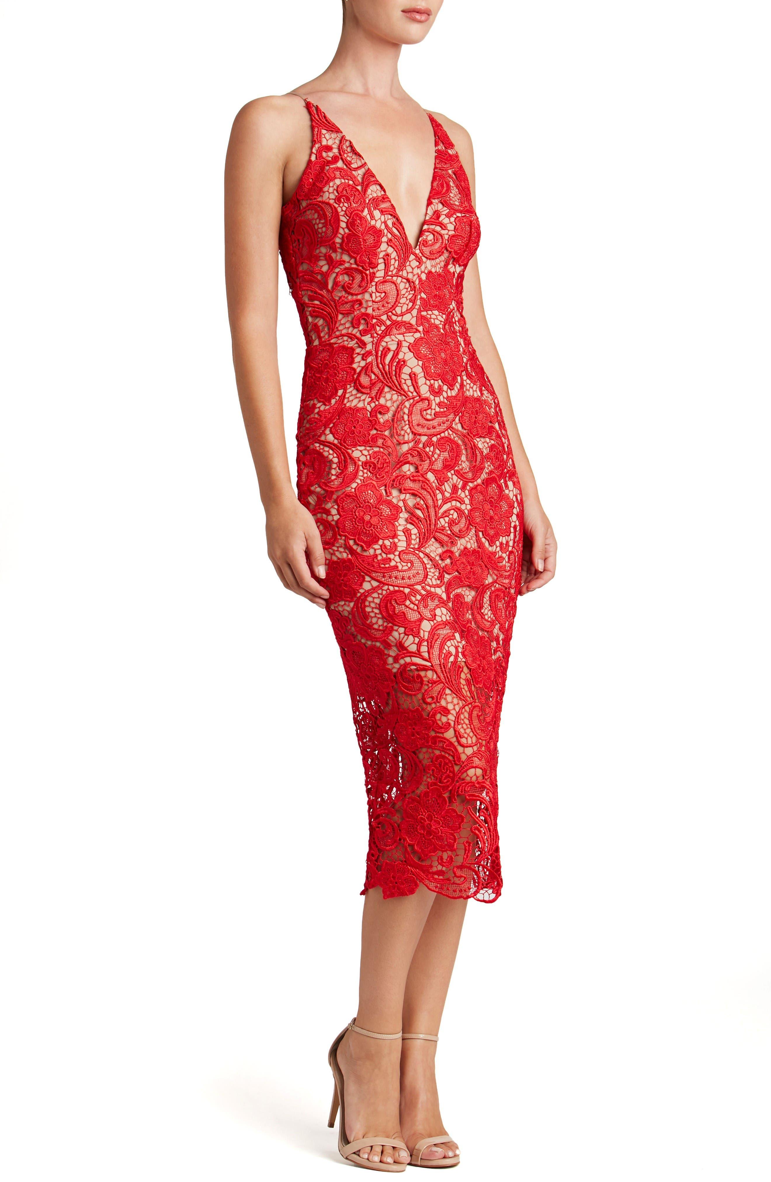 'Marie' Lace Midi Dress,                             Alternate thumbnail 6, color,                             Rose