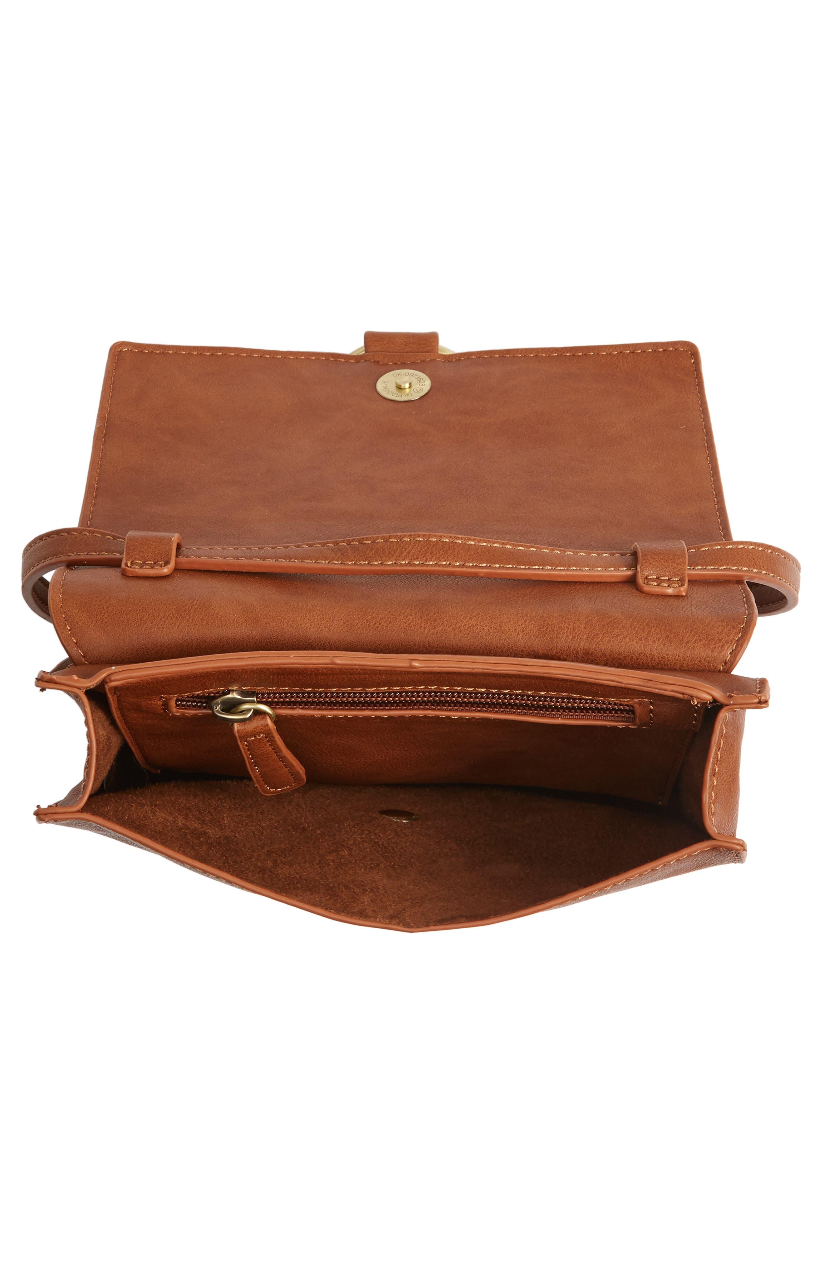 Square Crossbody Bag,                             Alternate thumbnail 5, color,                             Cognac